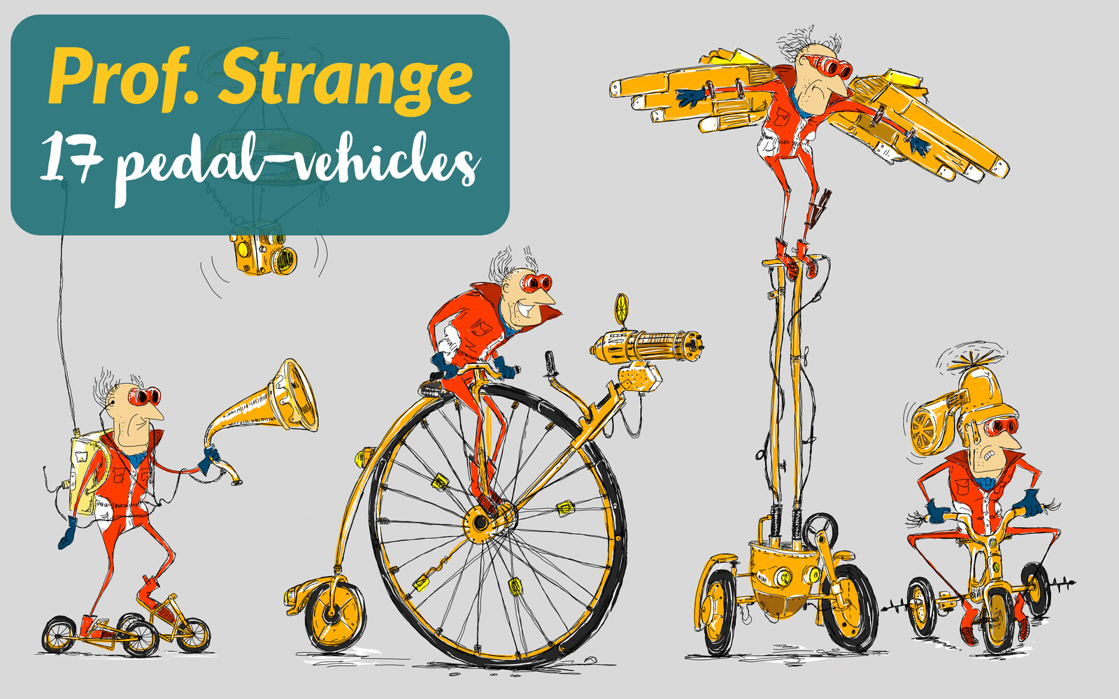 17 Pedal-Vehicles by Prof. Strange