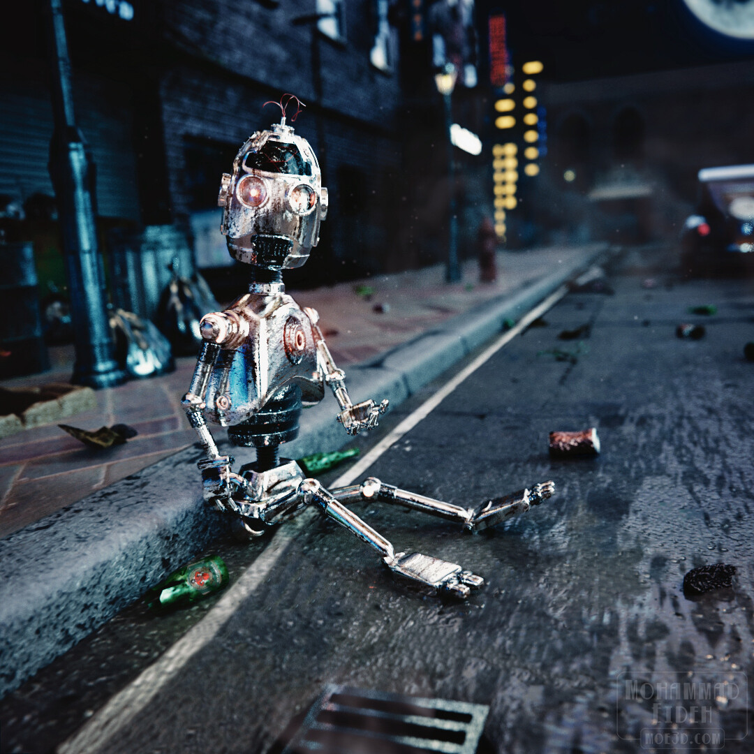 Rusty Flubbot. An alternative render of the robot, now in despair.