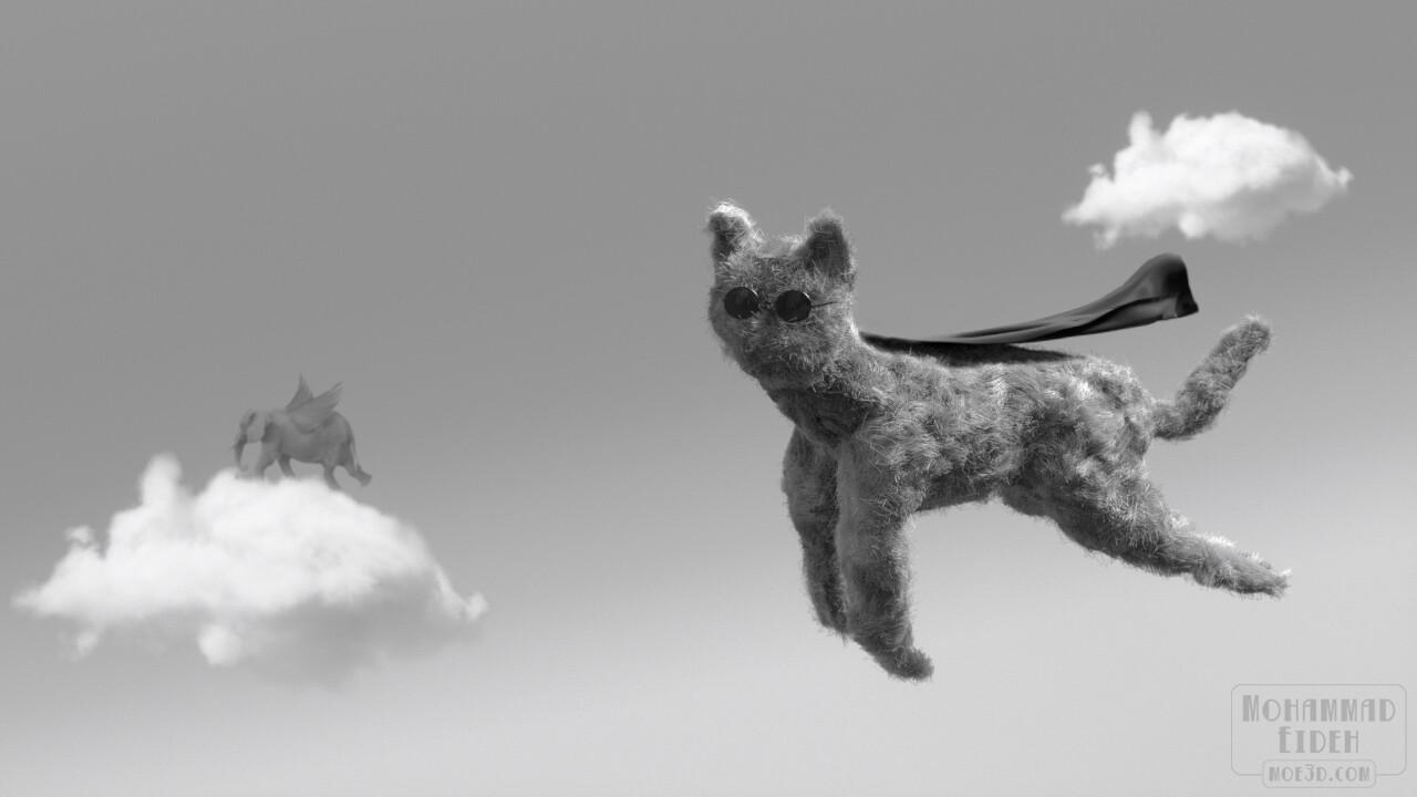 Flying Fluff. A very random flying superhero cat.