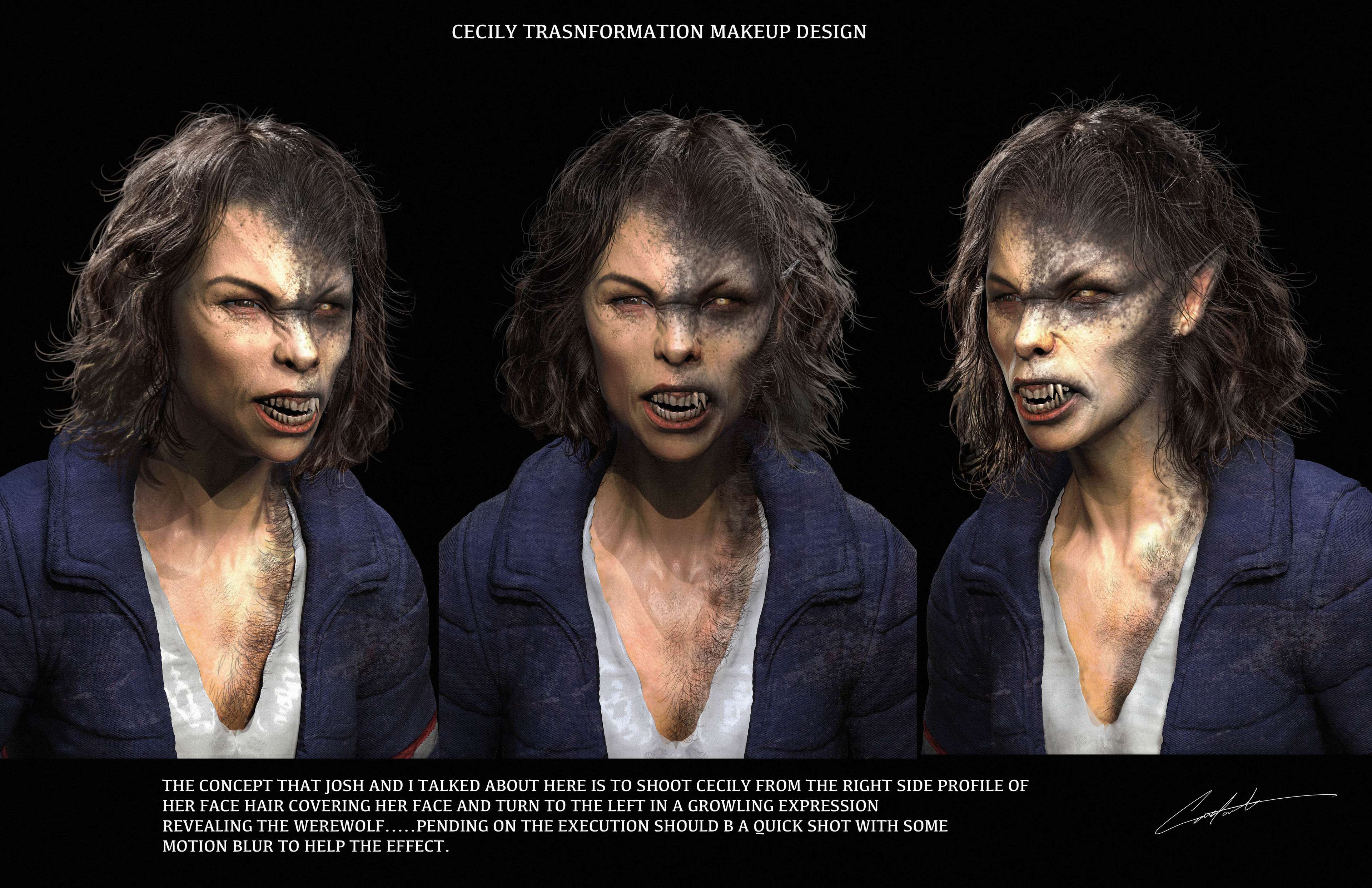 """Werewolves Within """"Cecily transformation concept design"""""""