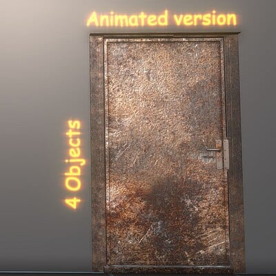 Dennis haupt 3dhaupt animated metal door version 3 rusty low poly 3d model by 3dhaupt made in blender 2 93