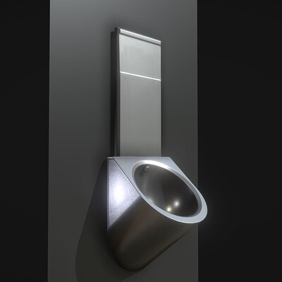 Dennis haupt 3dhaupt metal urinal basin textured high poly version by 3haupt made with blender 2 93