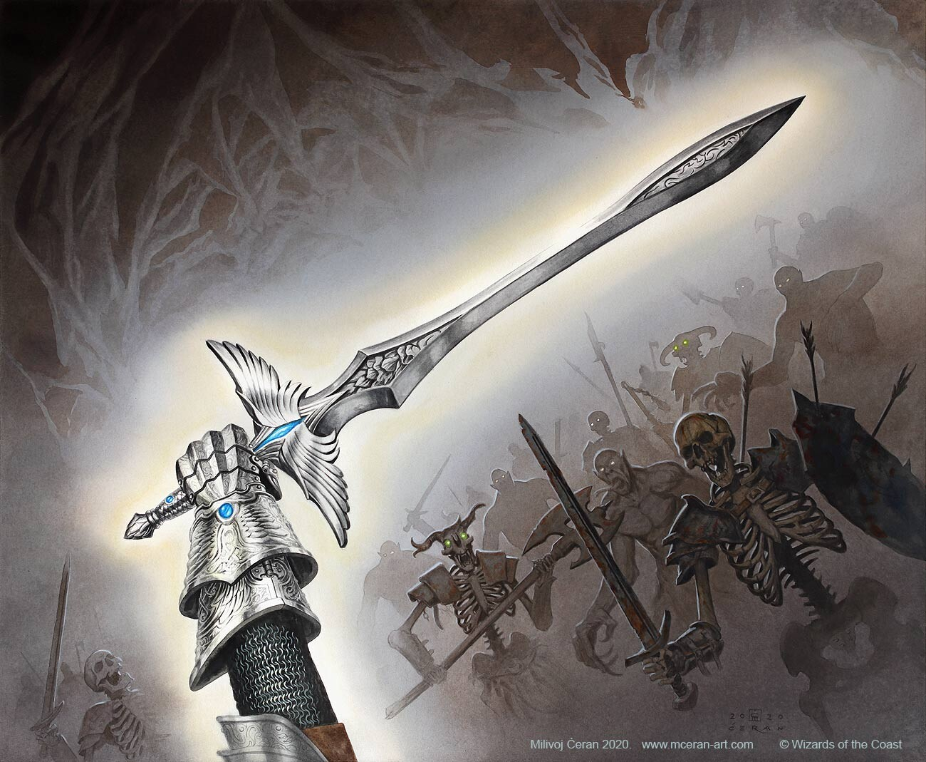 """- """"Holy Avenger"""" Milivoj Ćeran 2020. - 62,5 x 76 cm (24,6 x 30 inches) - acrylic on paper (Fabriano 5, 300 gsm) - © Wizards of the Coast - AD Andrew Vallas - """"Adventures in the Forgotten Realms Commander"""" set - original artwork sold!"""