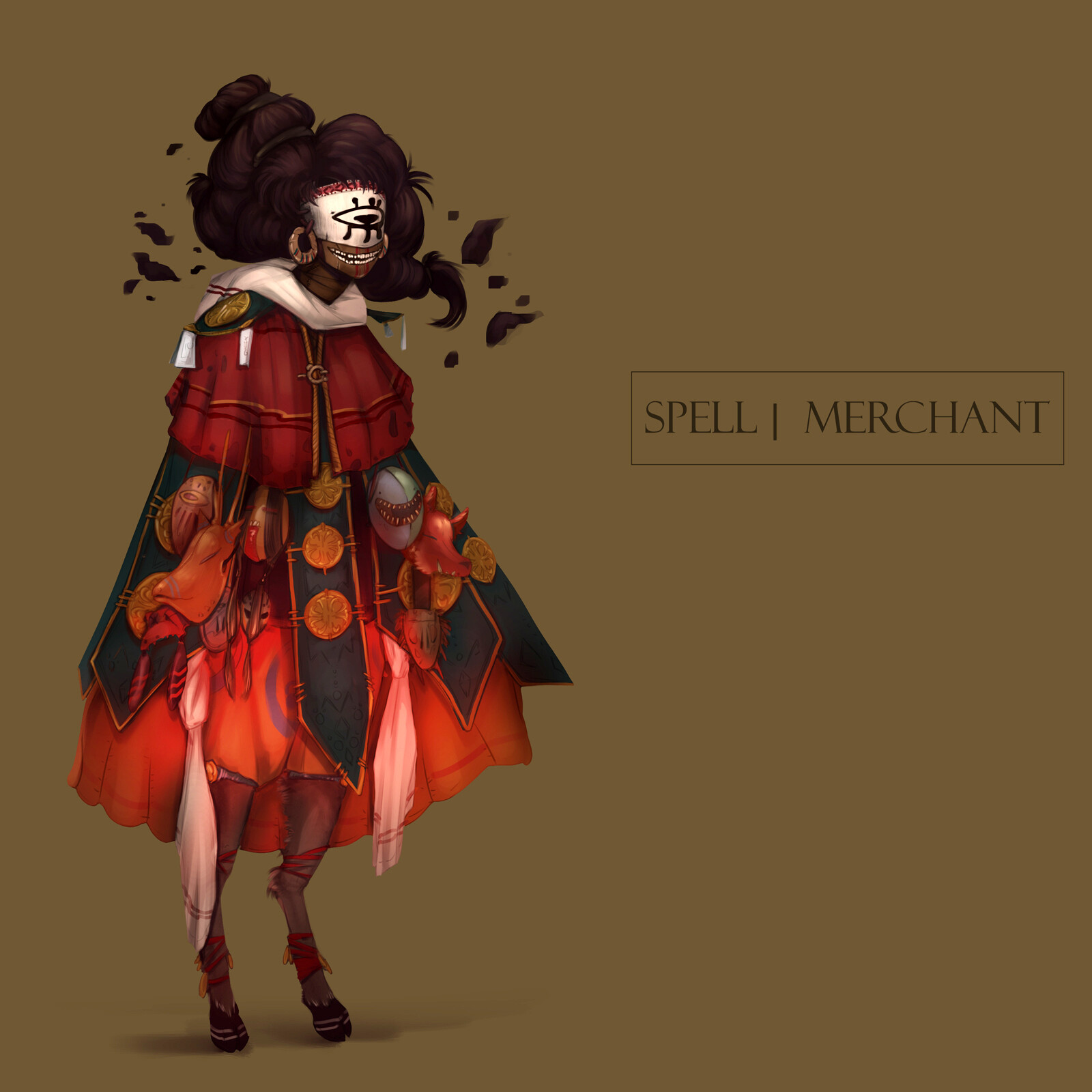 The Yaga and her henchmen (the little masks on her skirt) was the character which has set the tone for the whole project. She acts as a bridge between the strange magic of Lukomor and its protagonist.