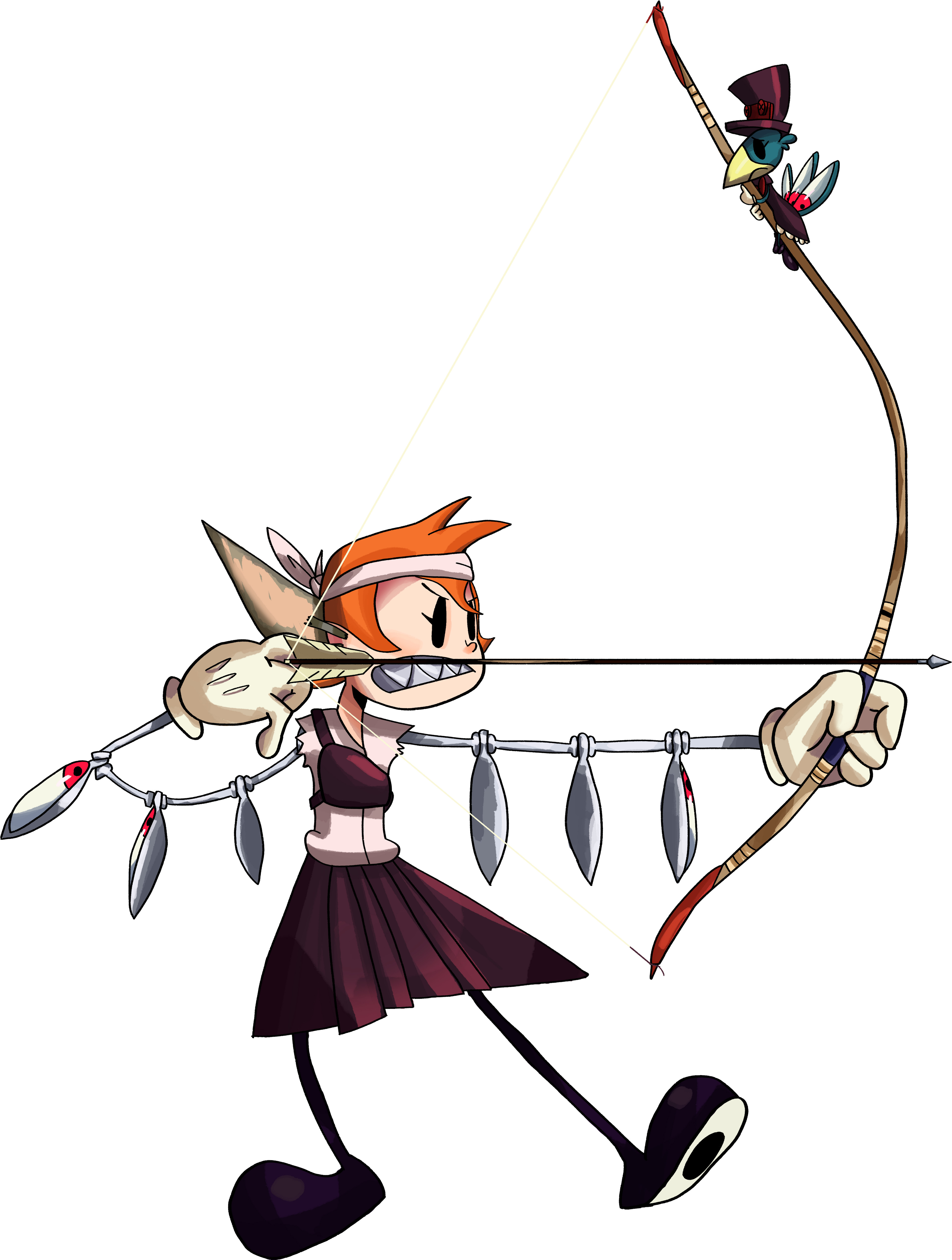 Peacock from Skullgirls as the Elf. Somehow she has patience to try Kyudo. Avery is about to get flung.