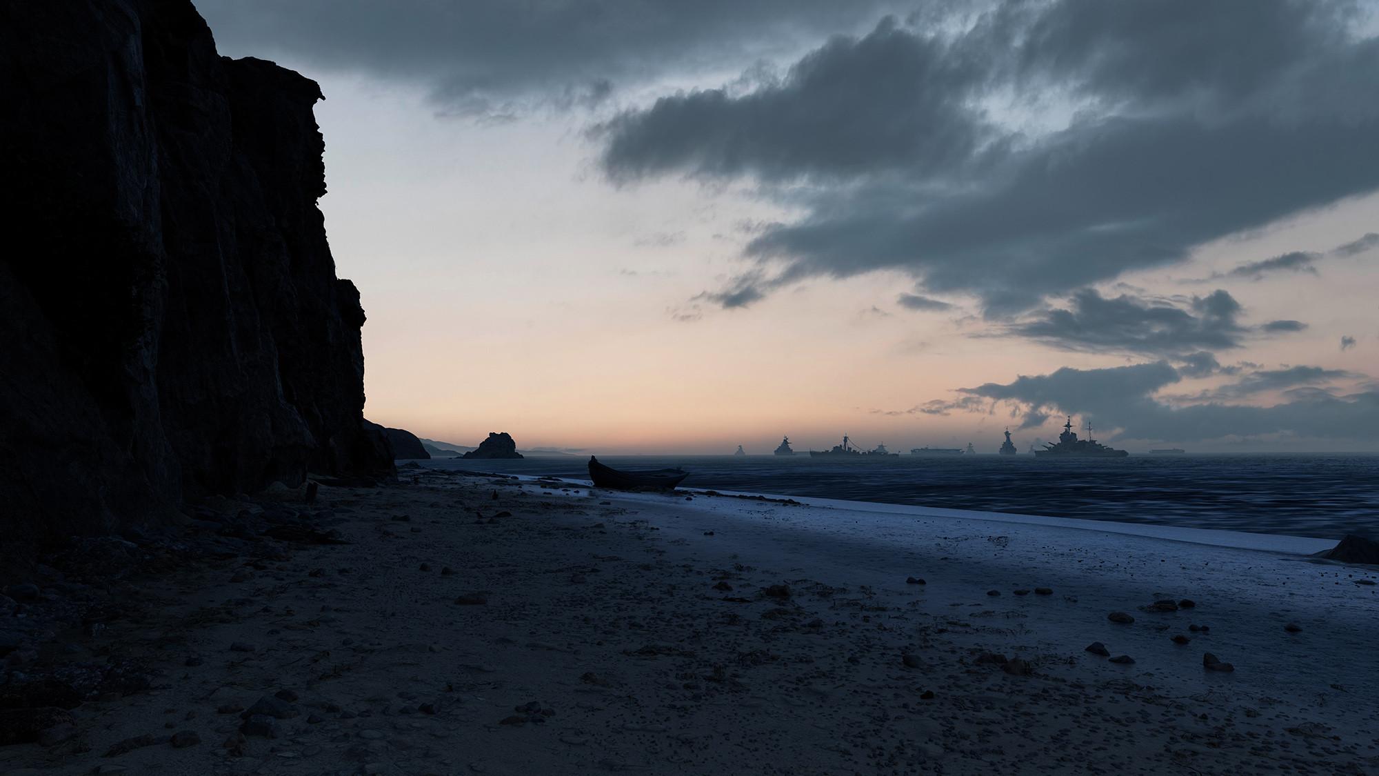 Landing site matte painting: horizon mountains, sea extension, sky, warships, cliff SL texturing. Lighting scenario 01