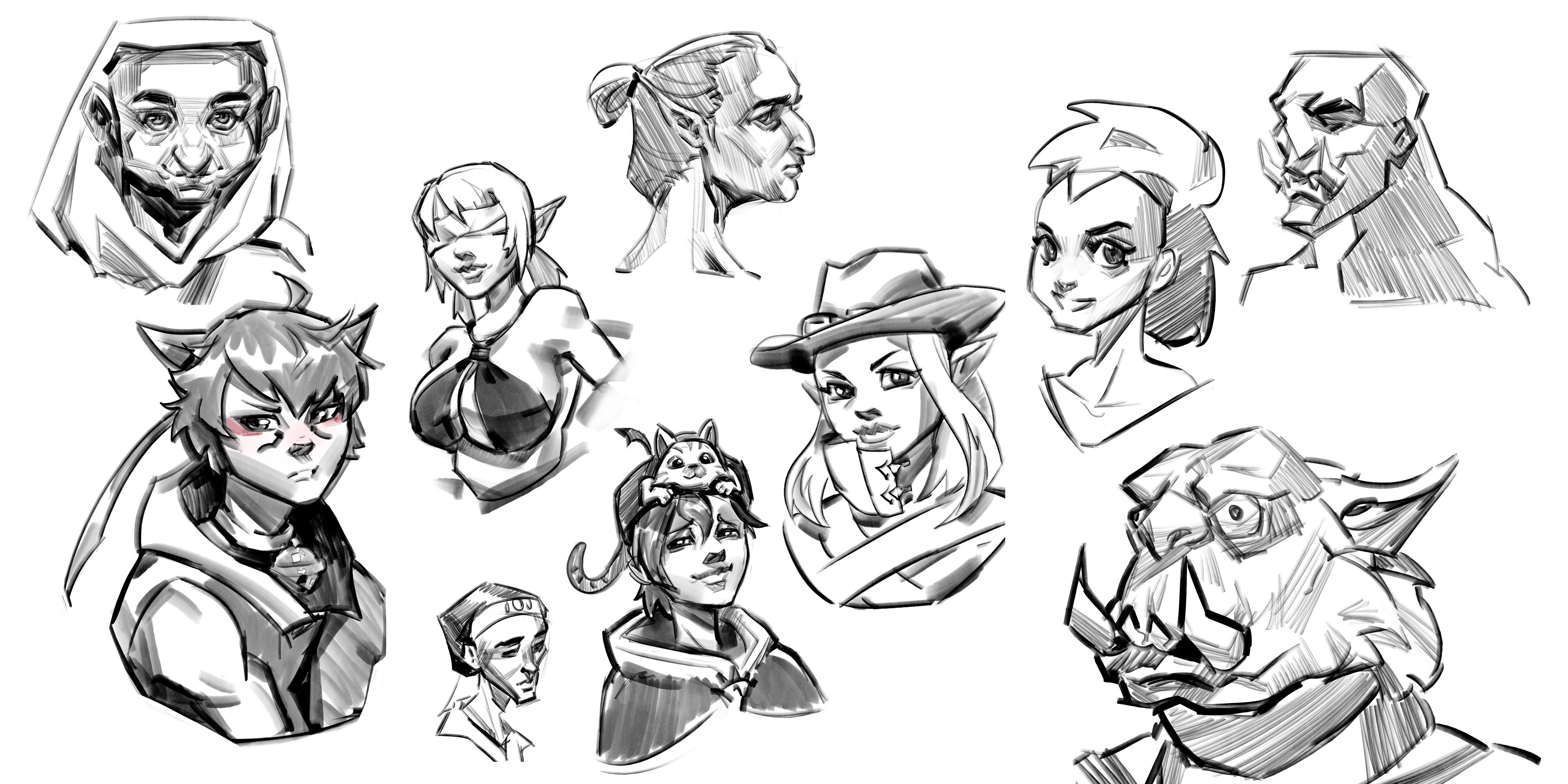 Stylized faces from ref and imagination!