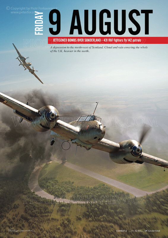 Chapter Illustration in exemplary page layout - shows BF110 raid against factory in Brooklands. BF110 model by Sławomir Ostrowicki. Textures, Scene & Illustration by Piotr Forkasiewicz