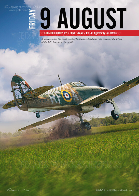 Chapter Illustration in exemplary page layout - shows emergency landing of 303 SQ Hurricane (flown by S/Ldr Kellet.) Hurricane base model by Wojciech Niewęgłowski. Damages, Textures, Scene & Illustration by Piotr Forkasiewicz