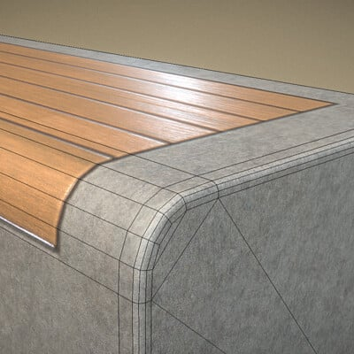 Dennis haupt 3dhaupt wood bench oak with concrete foundation by 3dhaupt made with blender 2 93 1