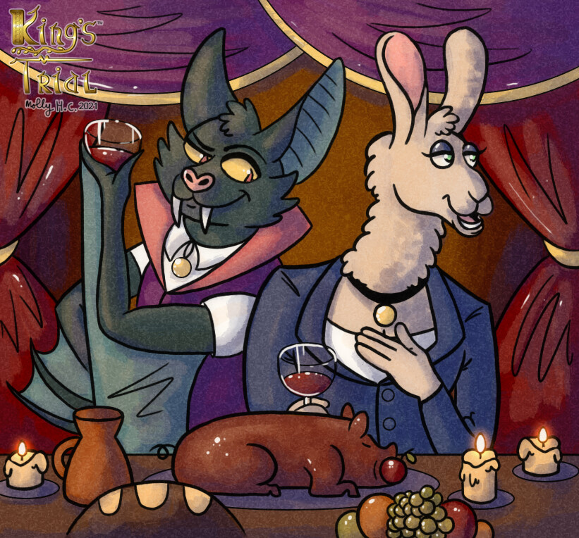 """""""Cheers!"""" card illustration.  Created for the boardgame King's Trial by Laughing Hyena Games.  (www.laughinghyenagames.com)  © 2020"""
