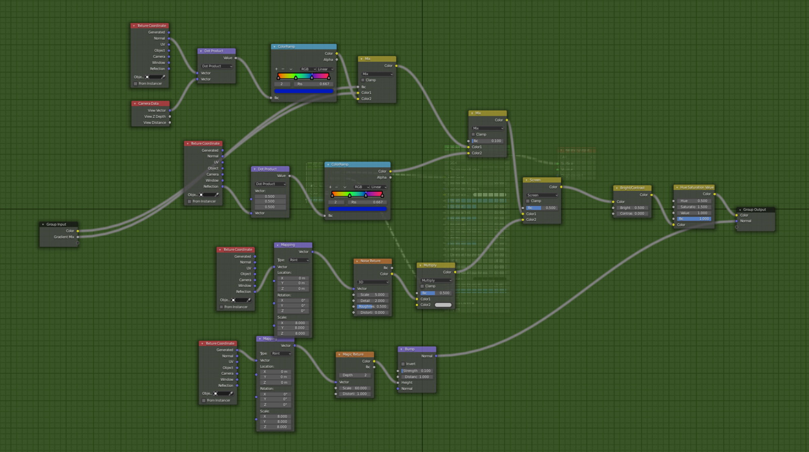 Iridescent procedural material node tree in Blender.
