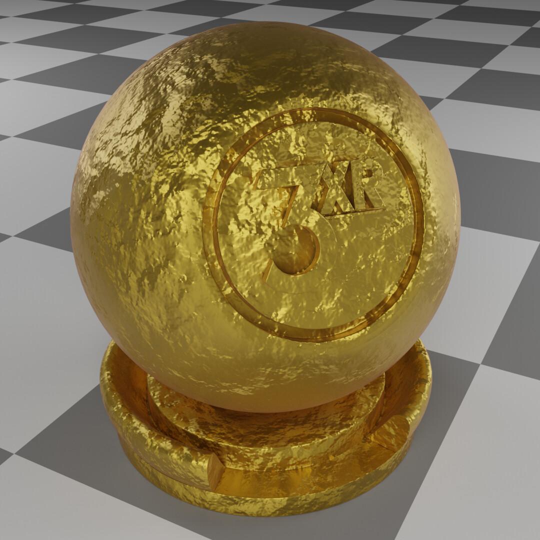 Gold foil procedural material made & rendered in Blender.