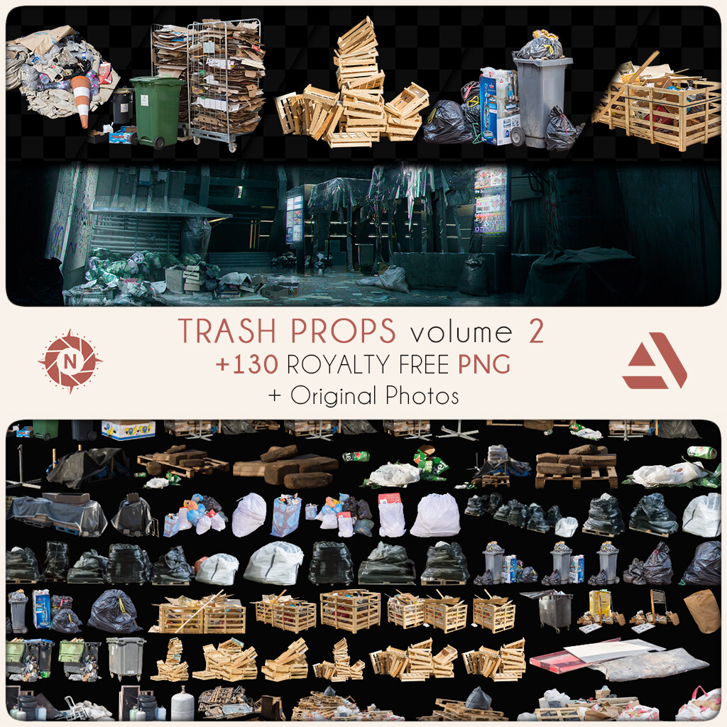 PNG Photo Pack: Trash Props volume 2  https://www.artstation.com/a/7545910