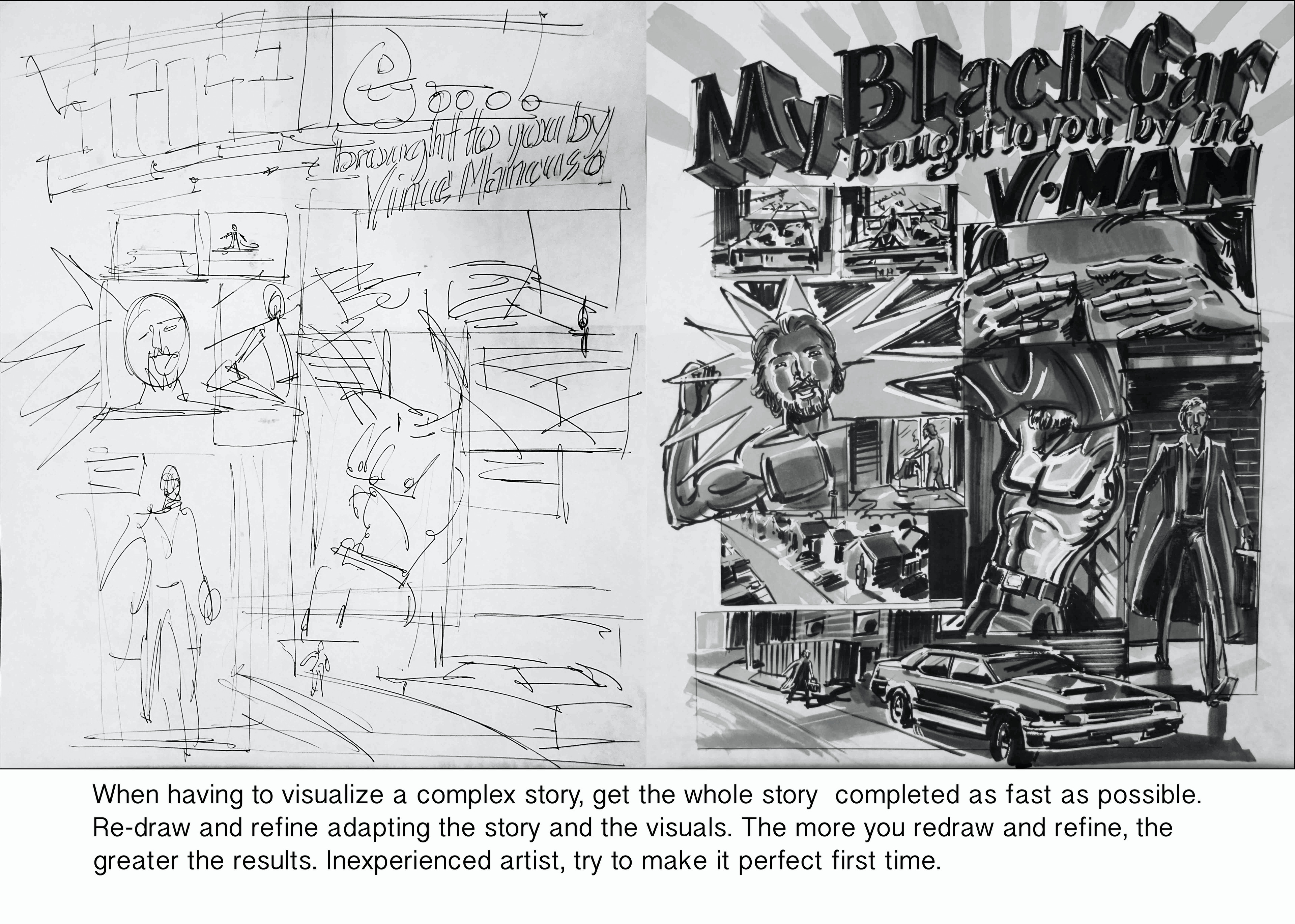 A concept board example that I created to show the basic anatomy of a Concept Board or Flow Board, used in advertising. It has similarity to a Comic Book or Graphic Novel.
