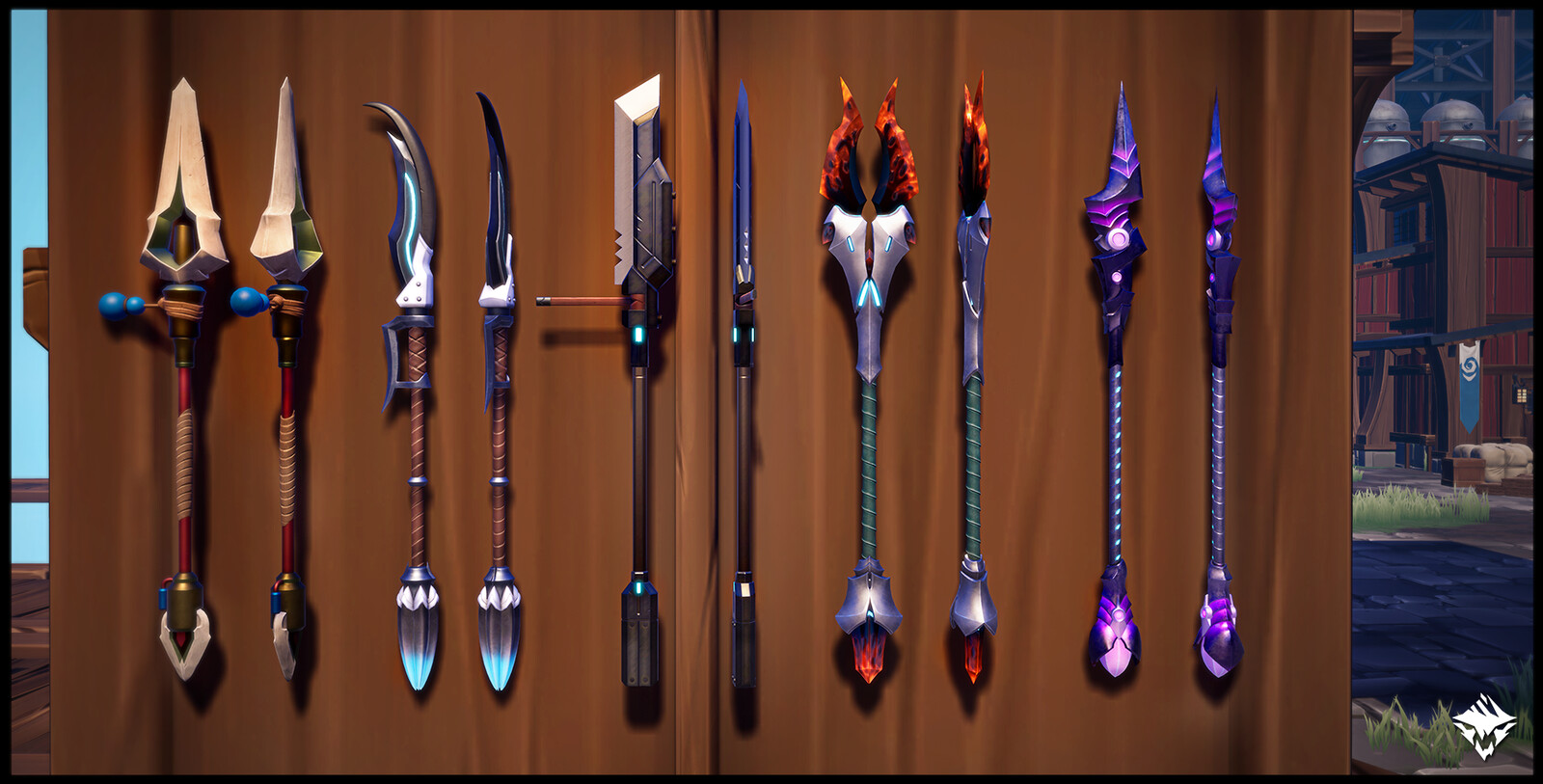 Corsair's Belaying Pike (Hunt Pass: Fortune & Glory), Winter Vortex (Craftable), Ostian War Pike (MTX), Inferno's Arrow (Craftable), Gyre of Night (Craftable)