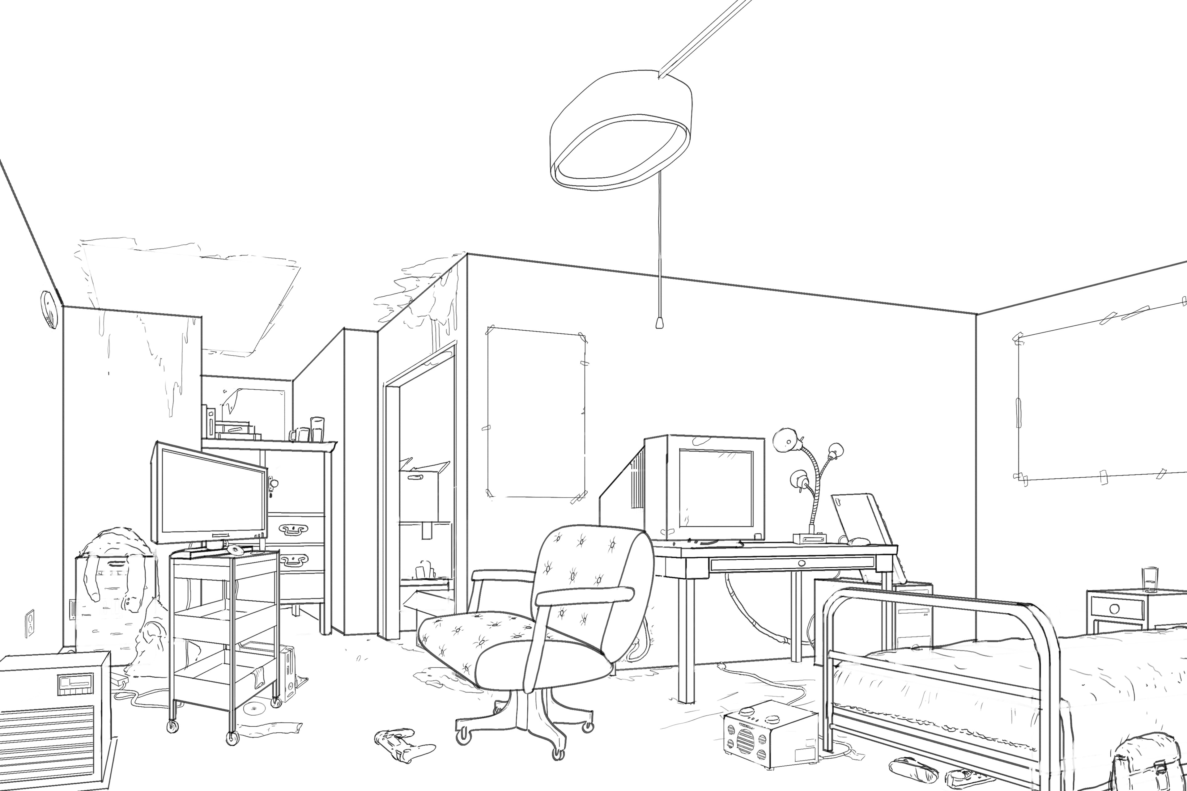 Perspective drawing that focused on local scale. The illustration prompt was to draw a bedroom.