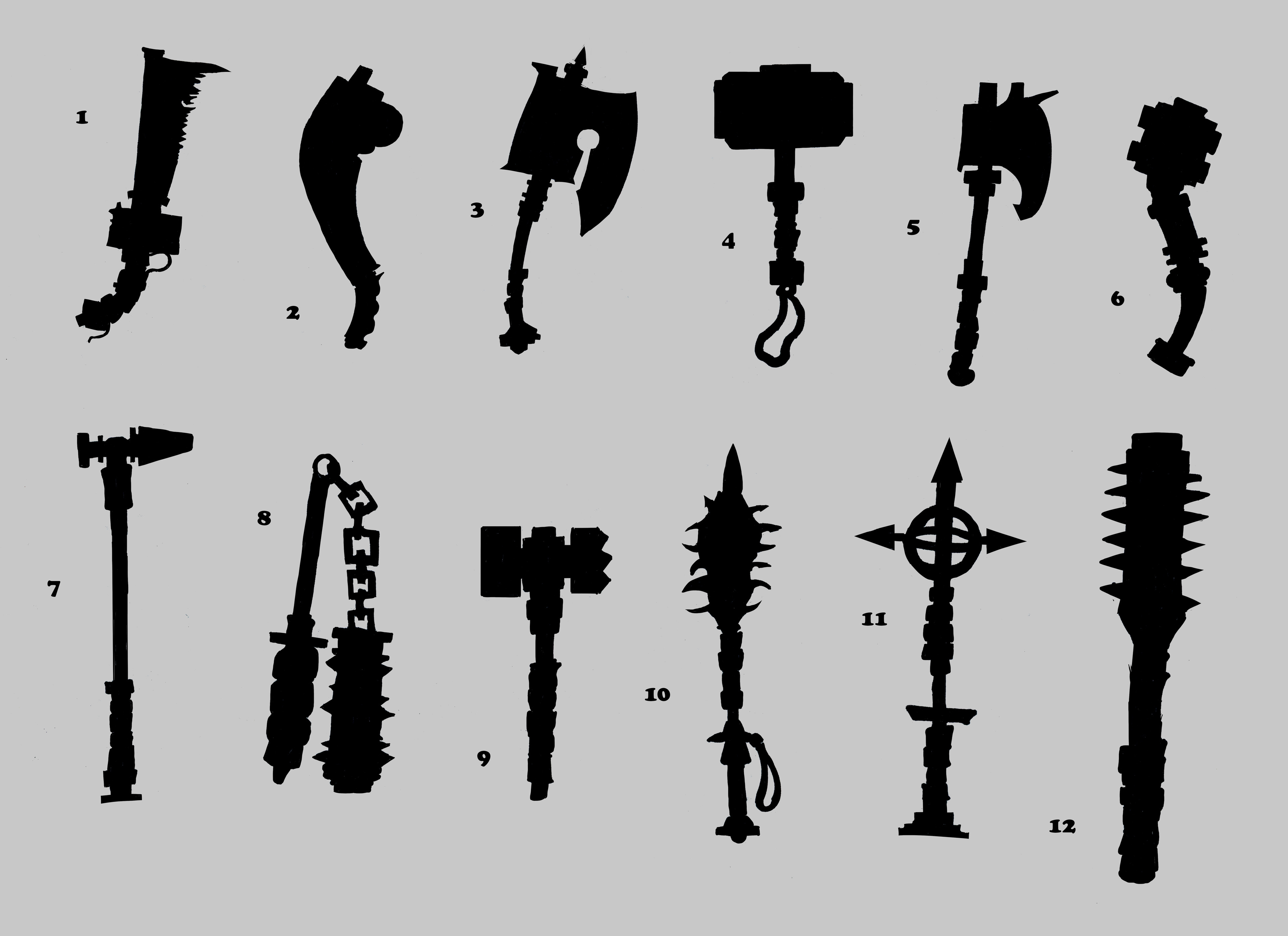 Silhouettes drawn to determine which direction to go for a 3d modeling projects weapon design.