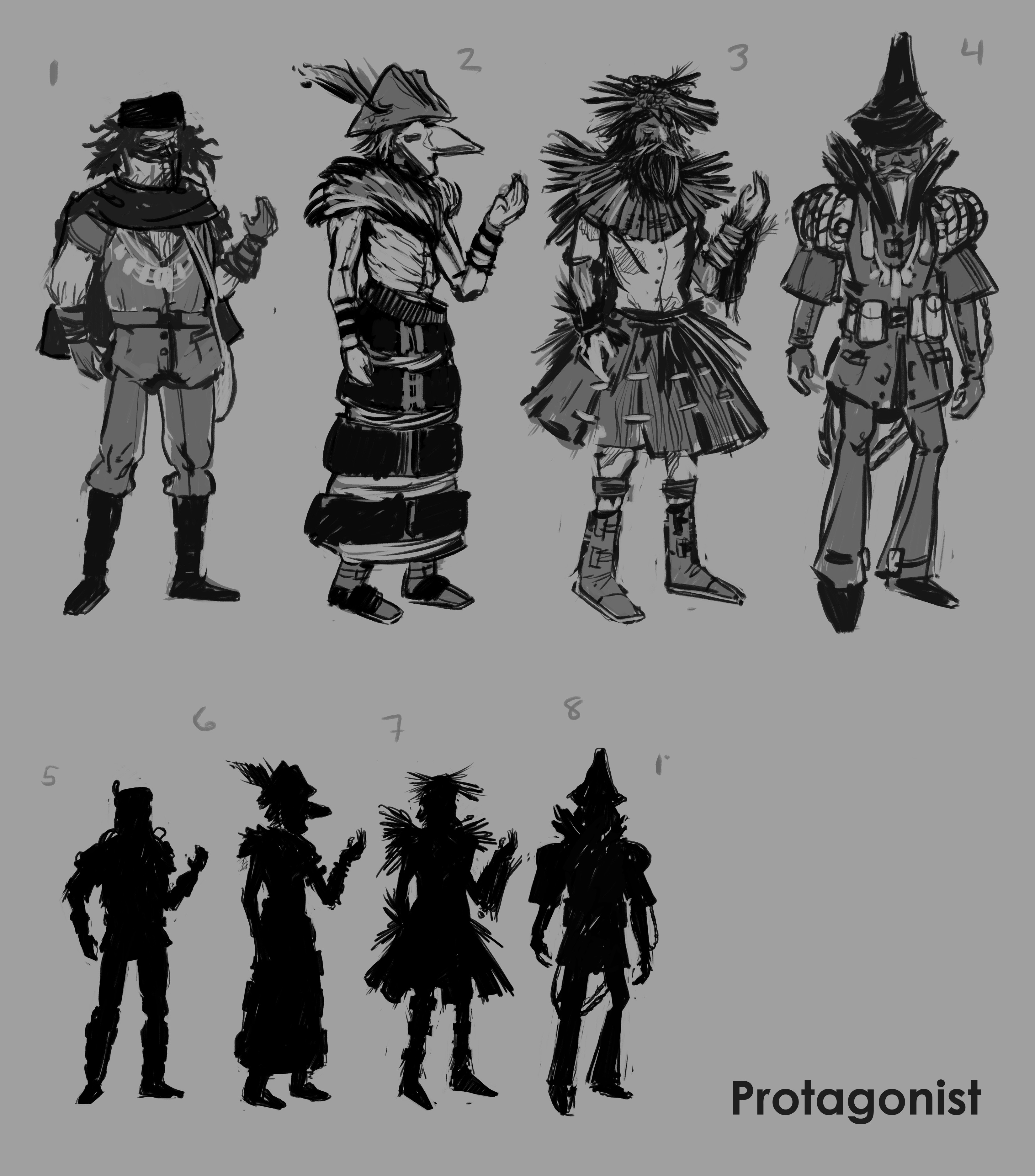 Protagonist concept sketches and silhouettes.