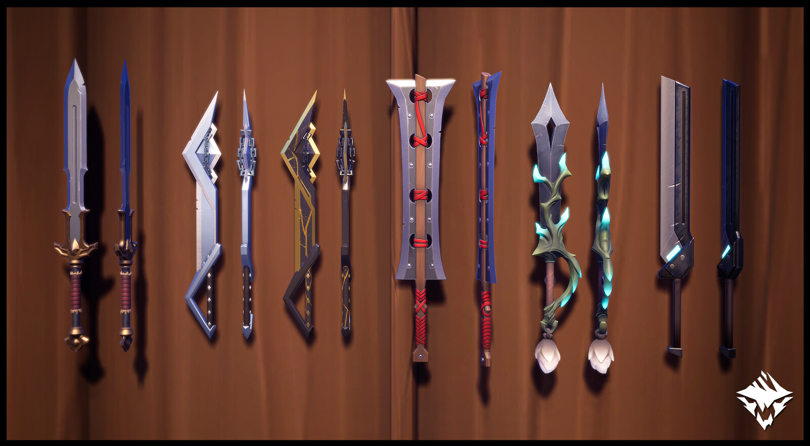 Sword of the Destroyer (Hunt Pass: Burn Down), Victorious Sword (The Island of Trials), Champion's Sword ( The Island or Trials), Bound Fury (Reward Skin), Sovereign's Torment (Craftable), Ostian Falchion (MTX)