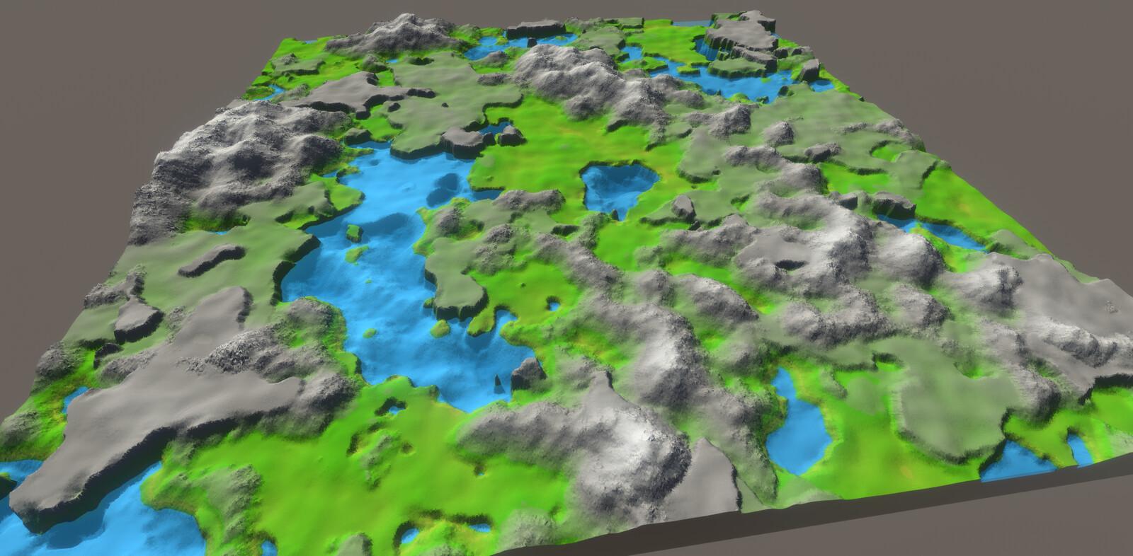 A 5x5 grid of terrain chunks.