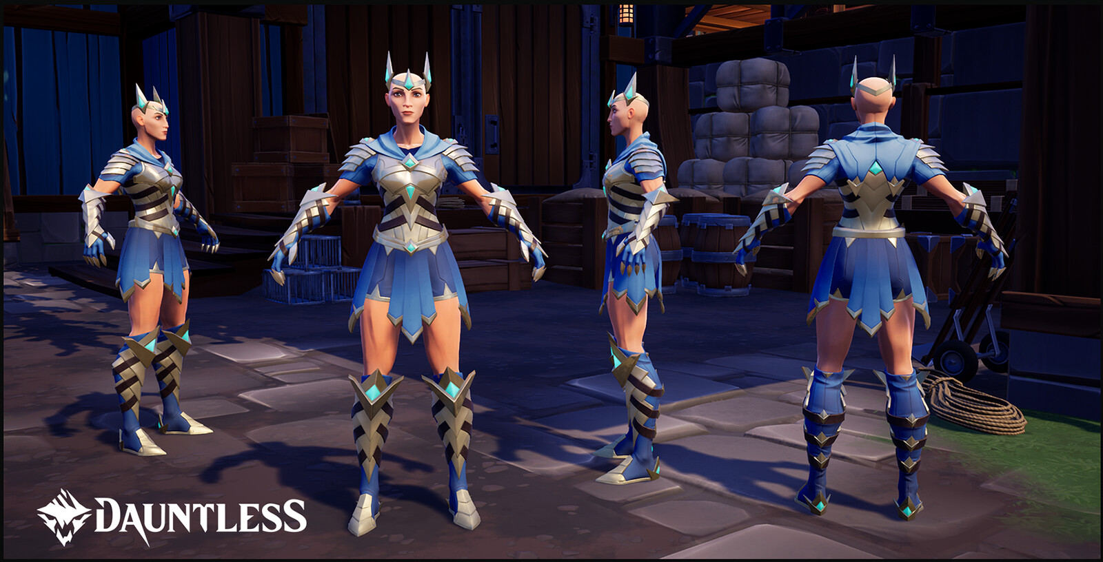 Aetheric Guardian outfit.  Obtainable by purchasing the Dauntless Collector's Edition and/or the Dauntless SteelBook (female version shown).