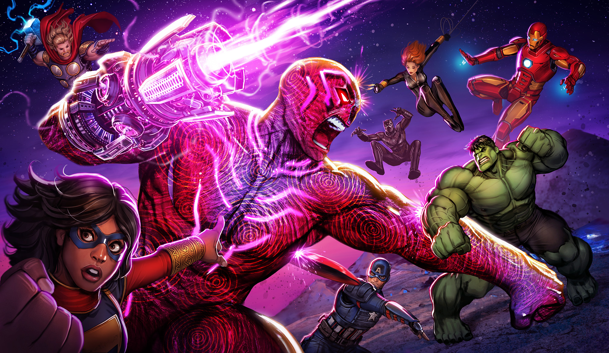 Scene 7 (Final): Avengers and Black Panther vs. Klaw