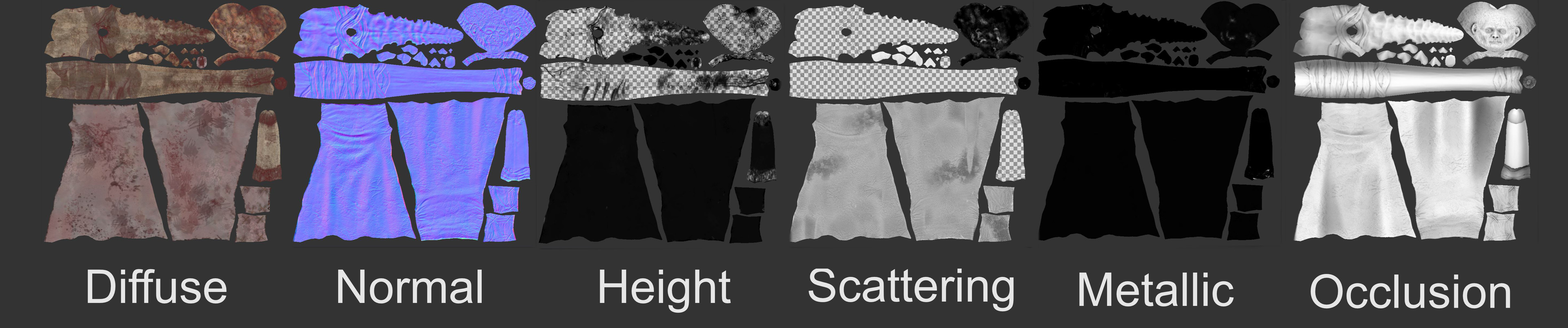 Texture maps for the creature.