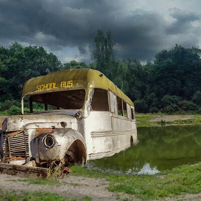 Mmcatsdesign rusted schoolbus