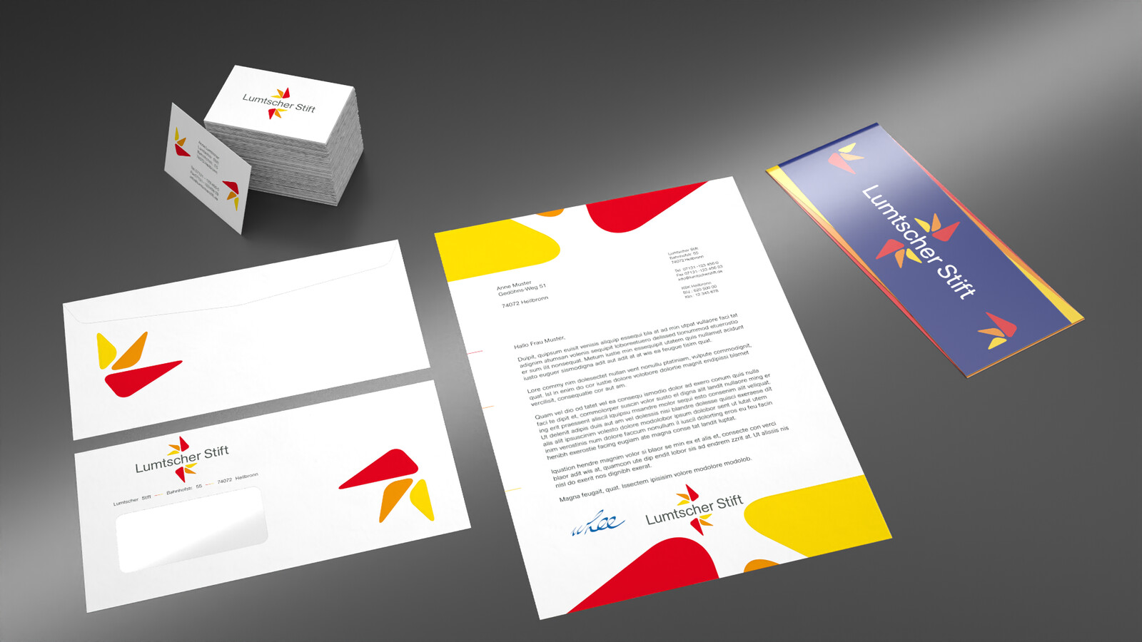 Letter, envelope and business card layouts