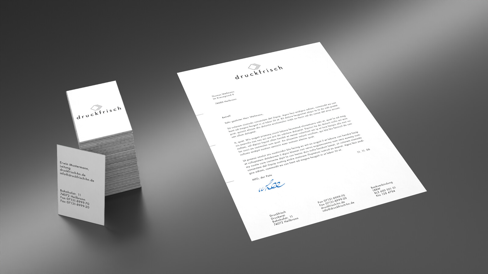 Letter and business card layouts