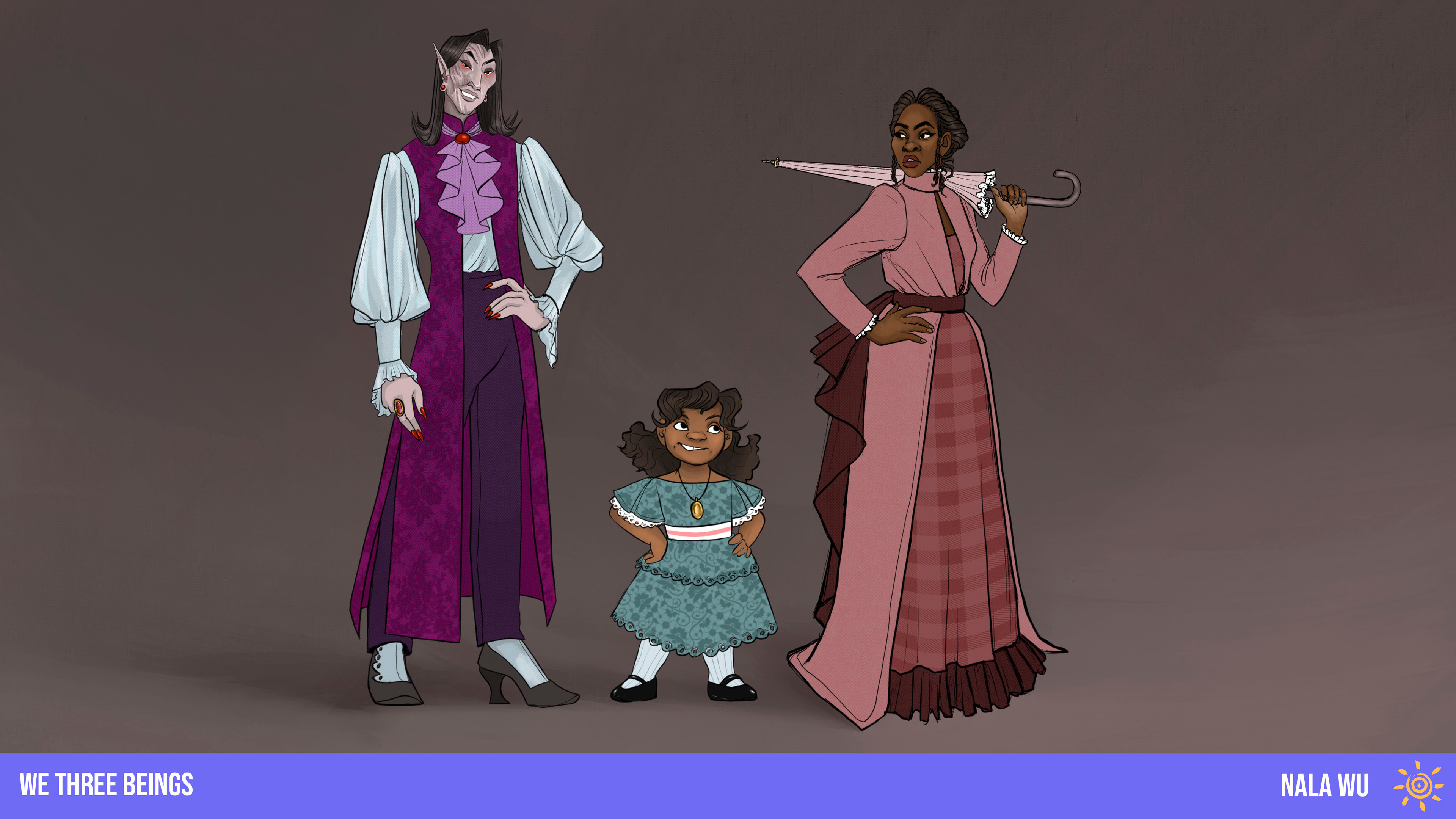 """Character Lineup! The character designs were created for the prompt """"A woman, her child, and the Vampire who murdered them."""""""
