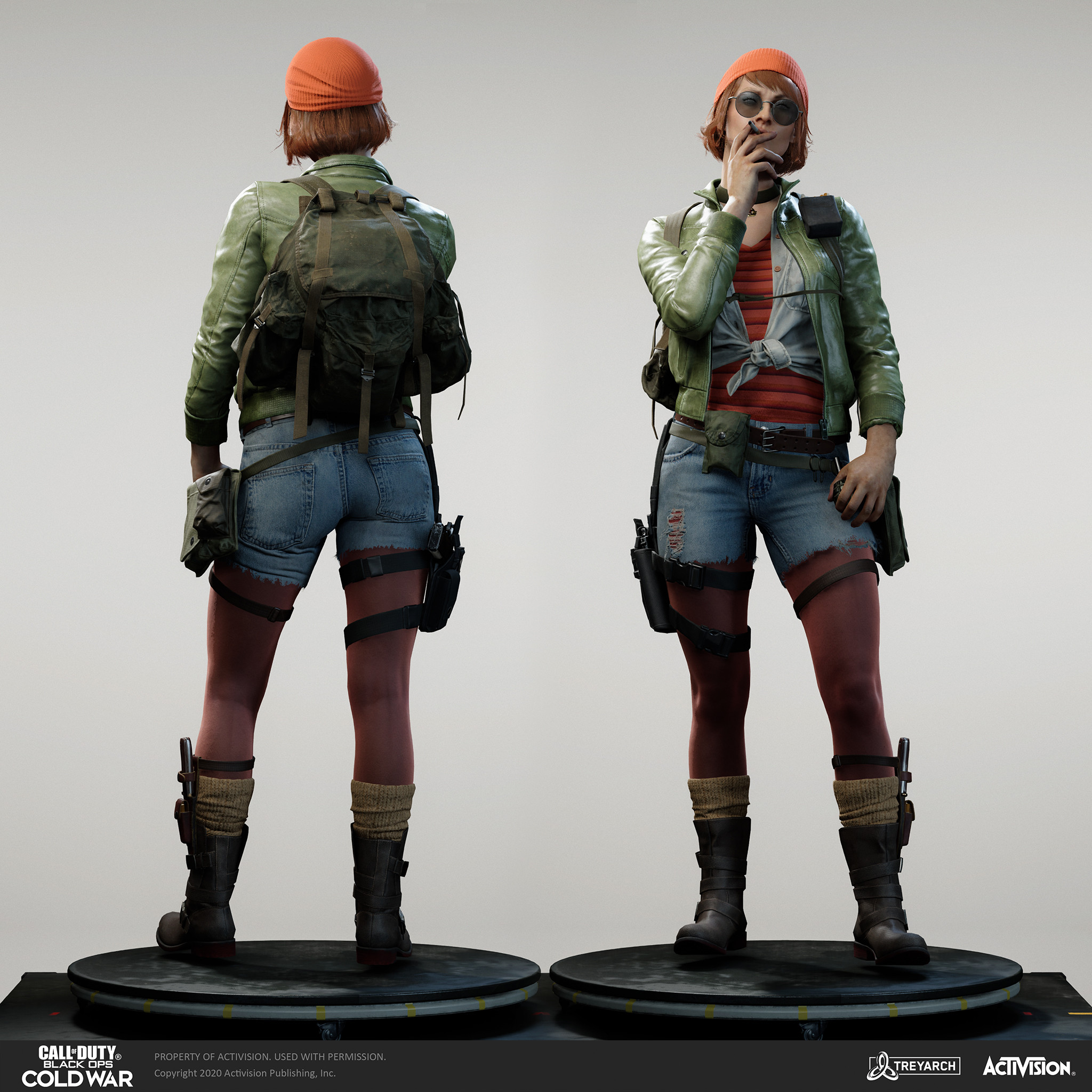 Skin for Yirina Portnova - Artist.  I was responsible for the design, game mesh assembly, and textures/materials. Individual models/bakes used on the character were created by the Treyarch, SHG, Raven, and OS teams. Head and hair model by Wren Cromwell.