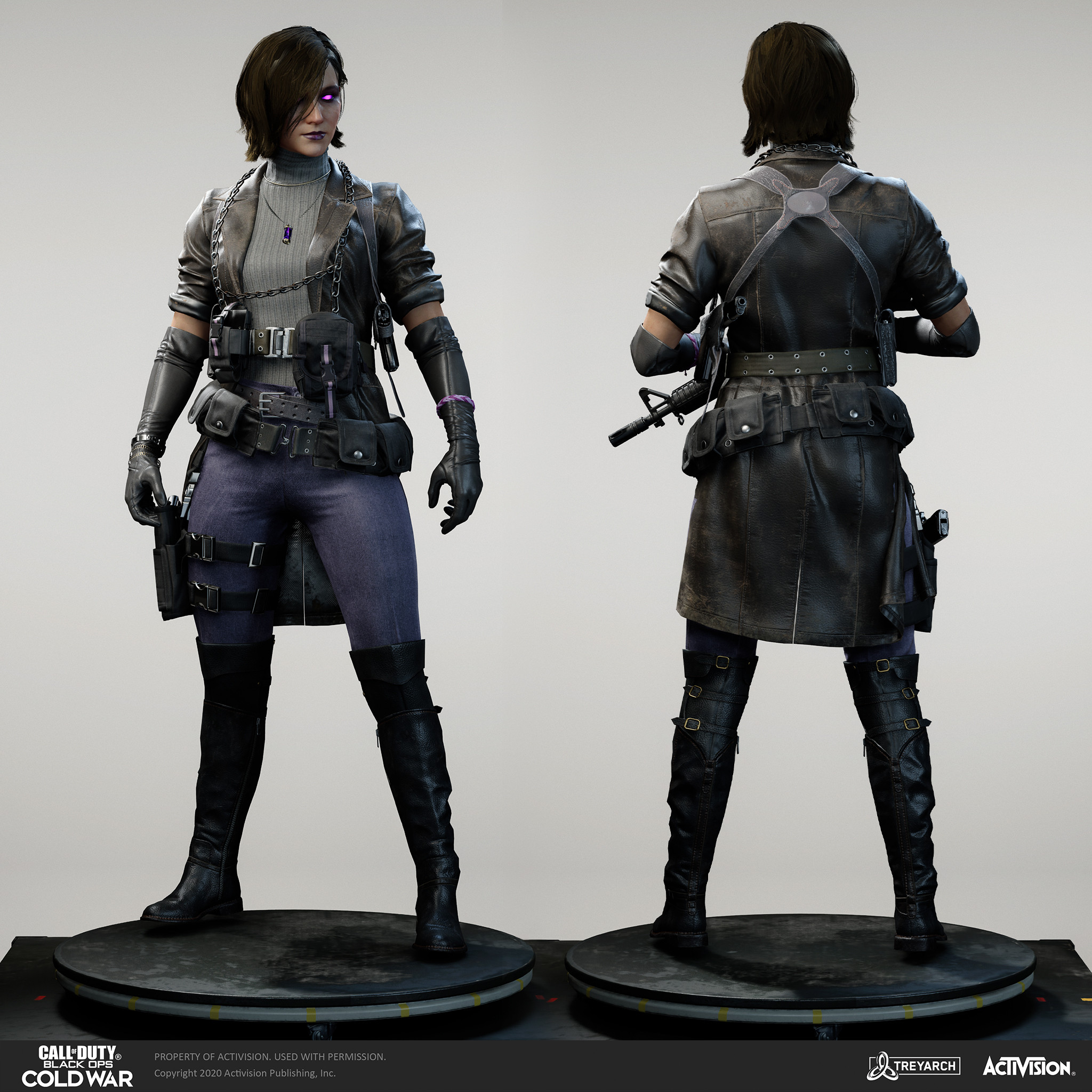 Samantha Maxis operator - Noir.  I was responsible for the design, game mesh assembly, and textures/materials. Individual models/bakes used on the character were created by the Treyarch, SHG, Raven, and OS teams. Head model by Activision Shanghai Studio.