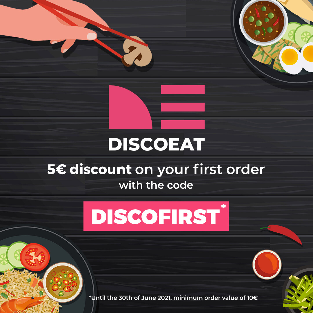 Static Ad for Discoeat, a food delivery service