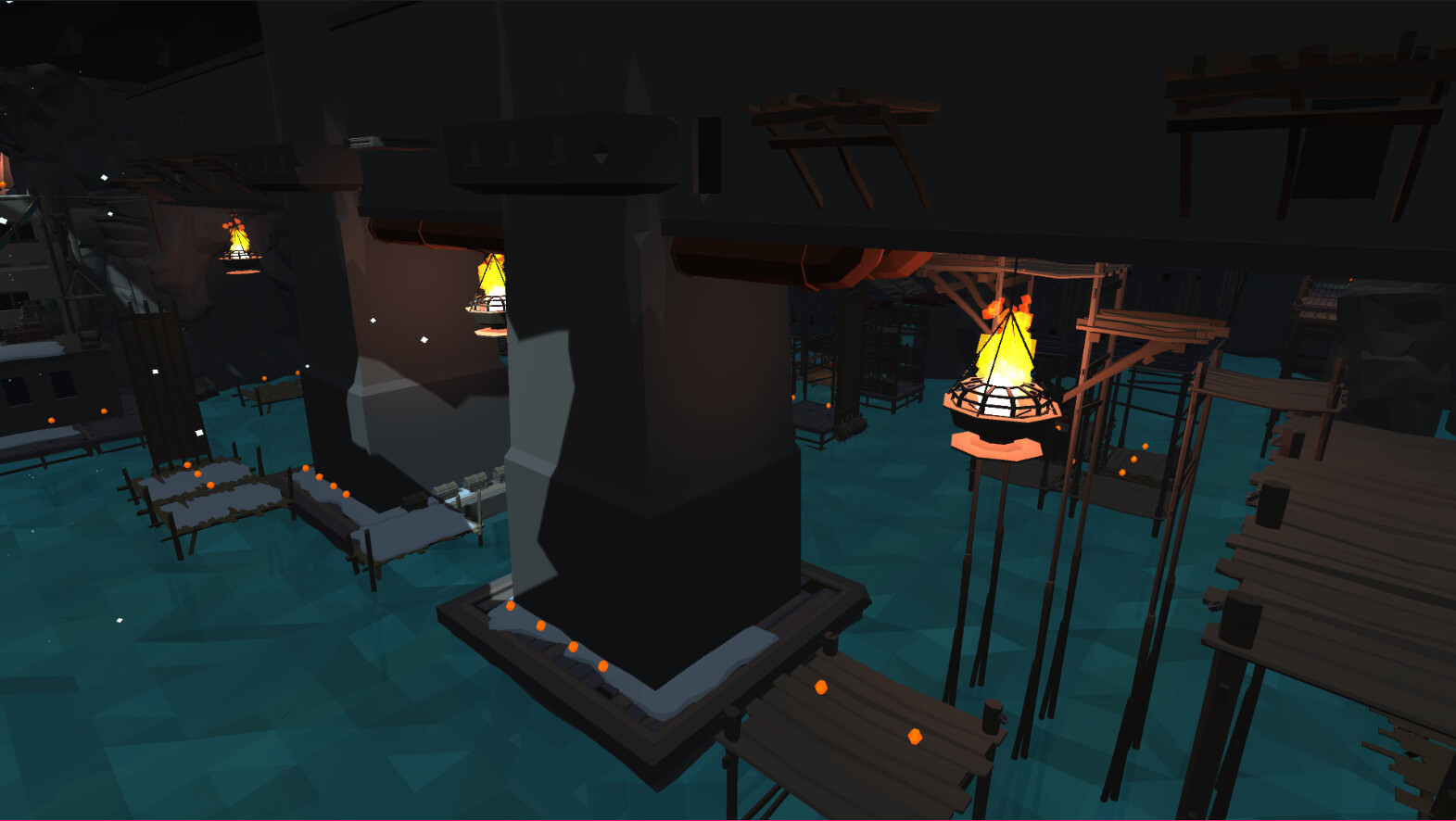A view showcasing the central section of the cavern area of the level. The player crosses these struts at the base when returning from opening the dam access point.