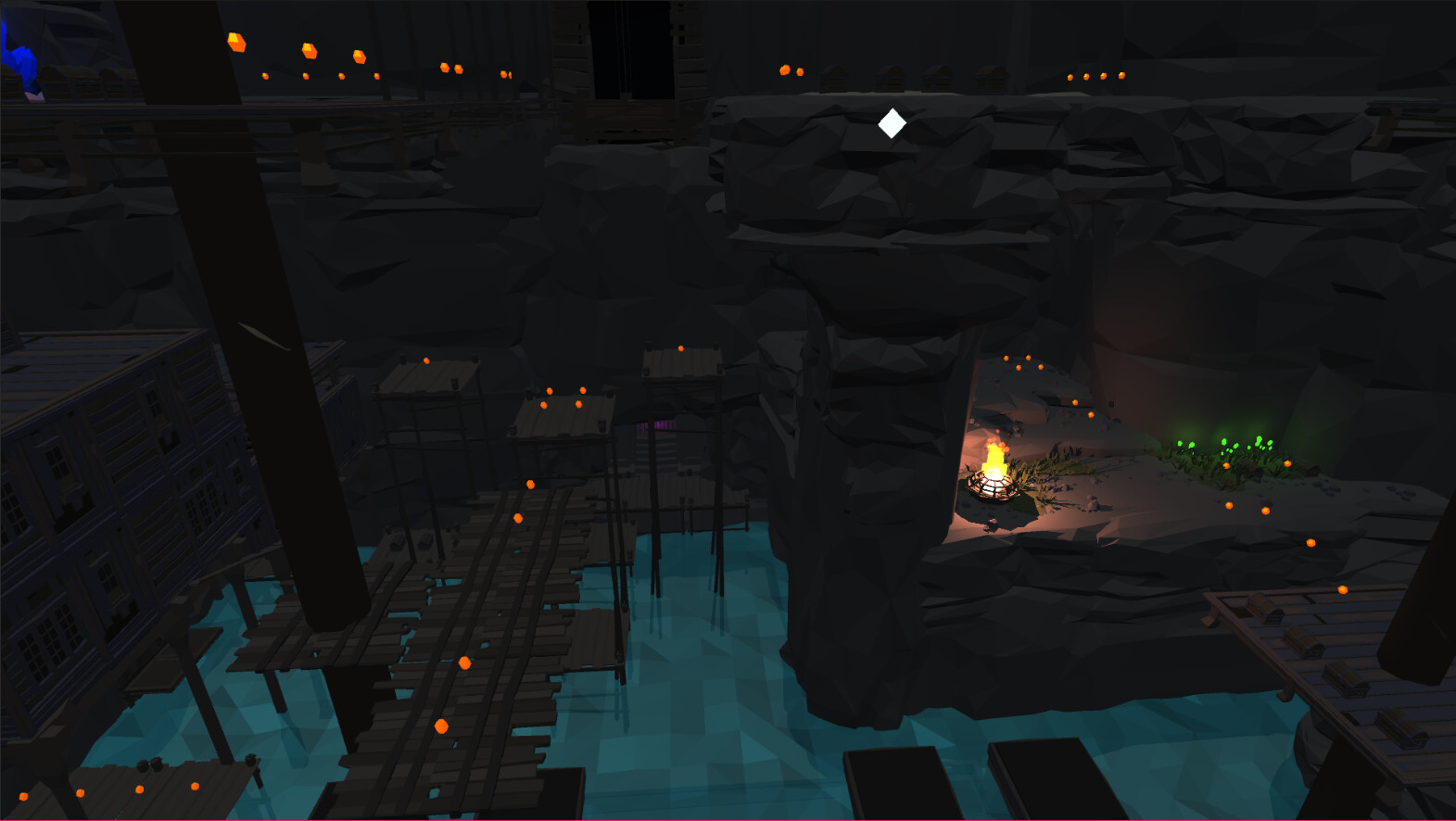 The player moves around the perimeter of the mines to continue upwards.