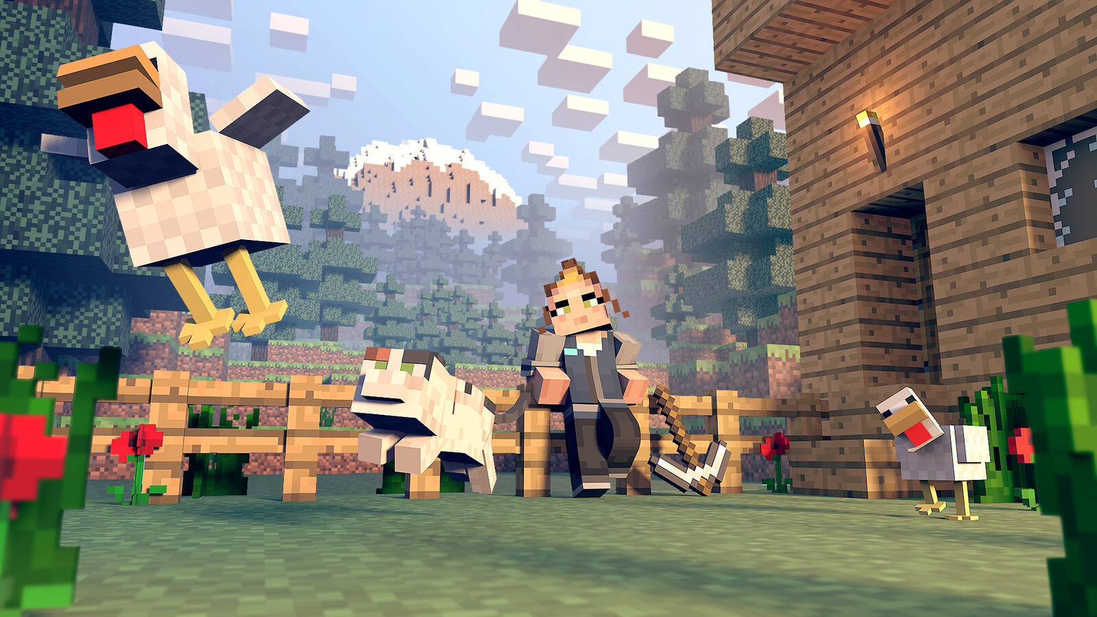 Minecraft art test composited, posed and rendered by me