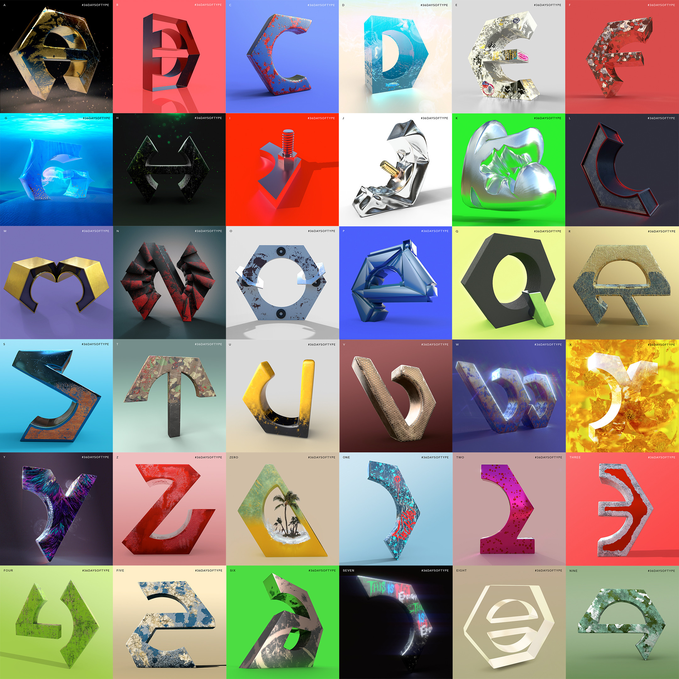 3D typography, 36 Days of Type.