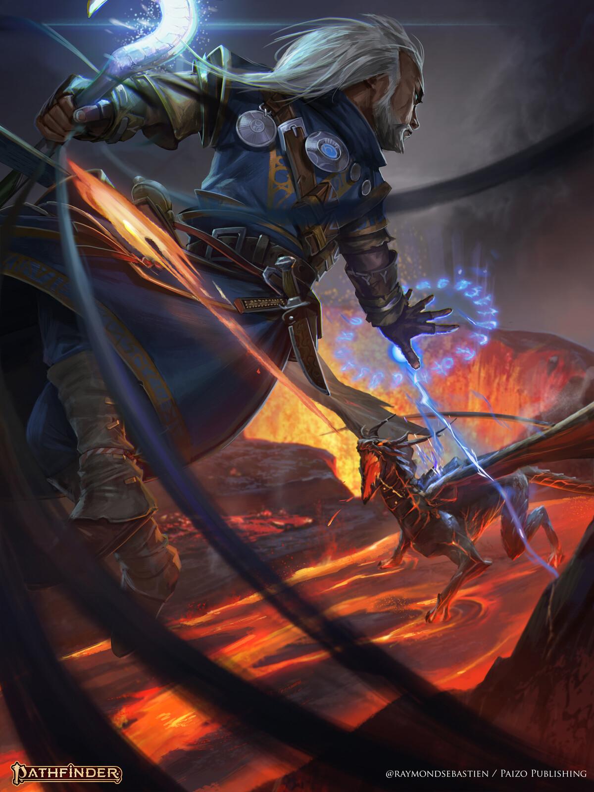 Pathfinder : Iconic Wizard vs Magma Dragon