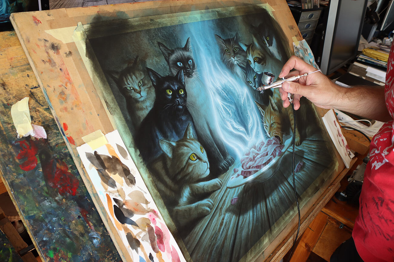 """""""Can't Stay Away"""" - Milivoj Ćeran 2020. wip from the studio, airbrushing"""
