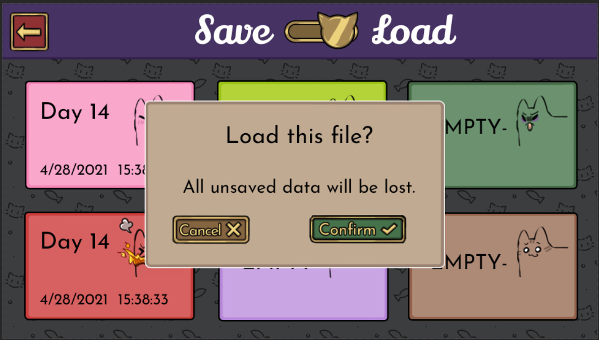 Save/load menu, which thematically reused the flavor icons from the recipe screen