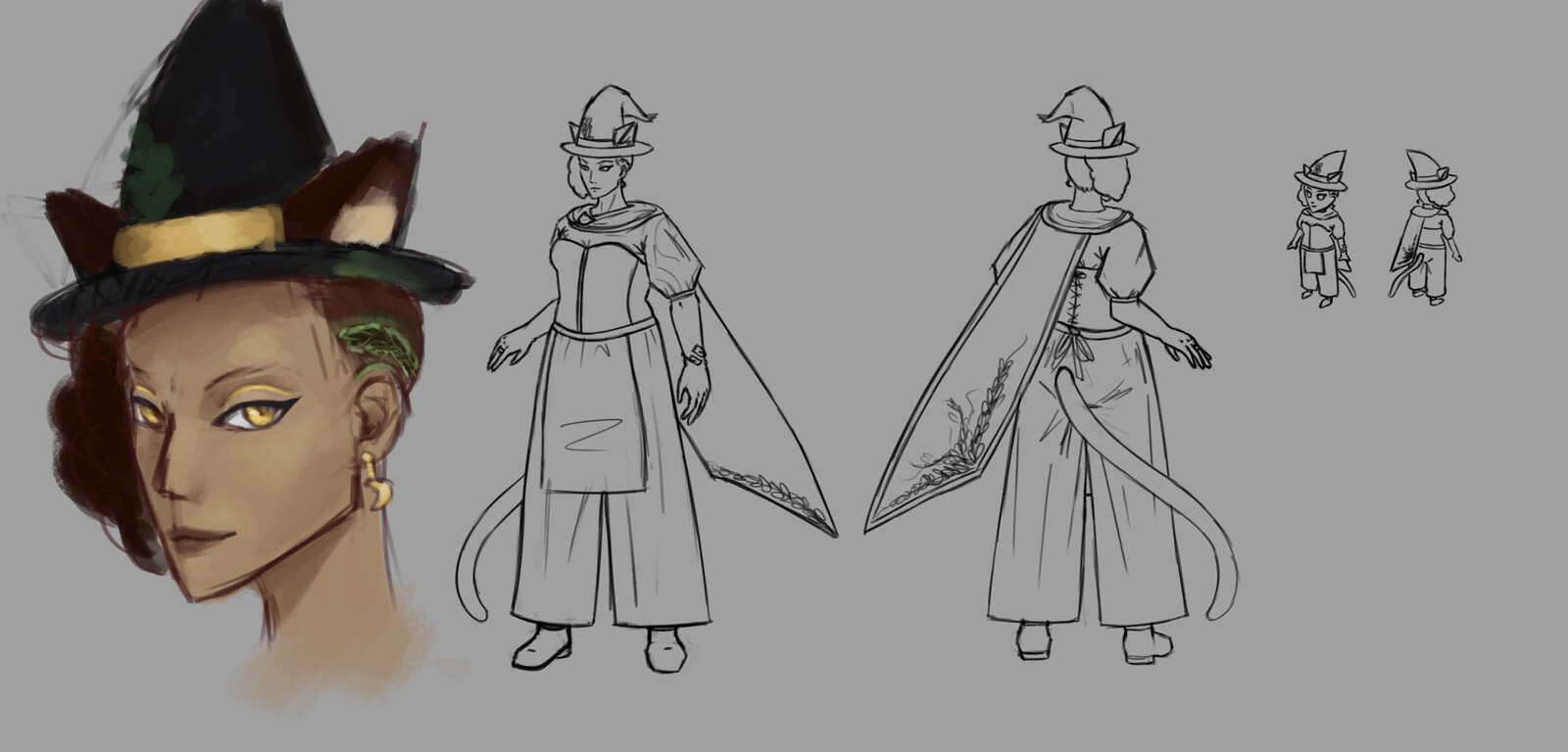 First design - when the main character was a witch, instead of a barista