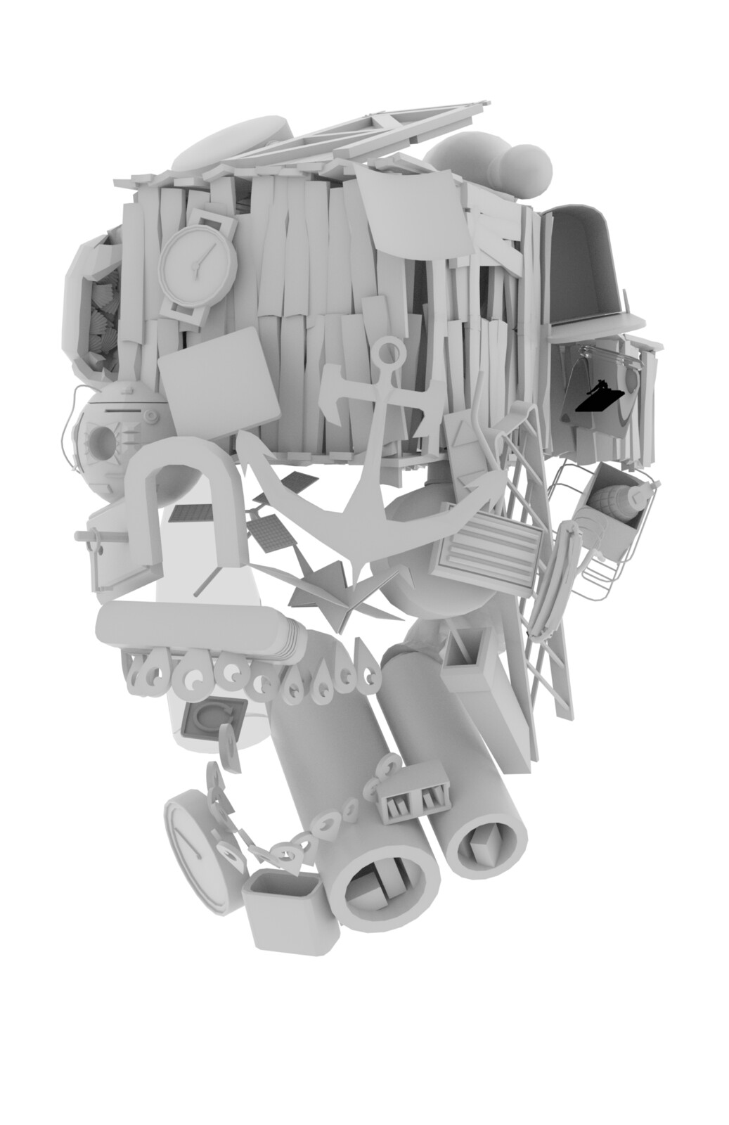 3D base. Each component represents one of the forty chapters in the book, and started with 3D modeling all of the non-organic elements. This allowed me to move pieces around easily, twisting and turning them, arranging them into the skull shape as needed.
