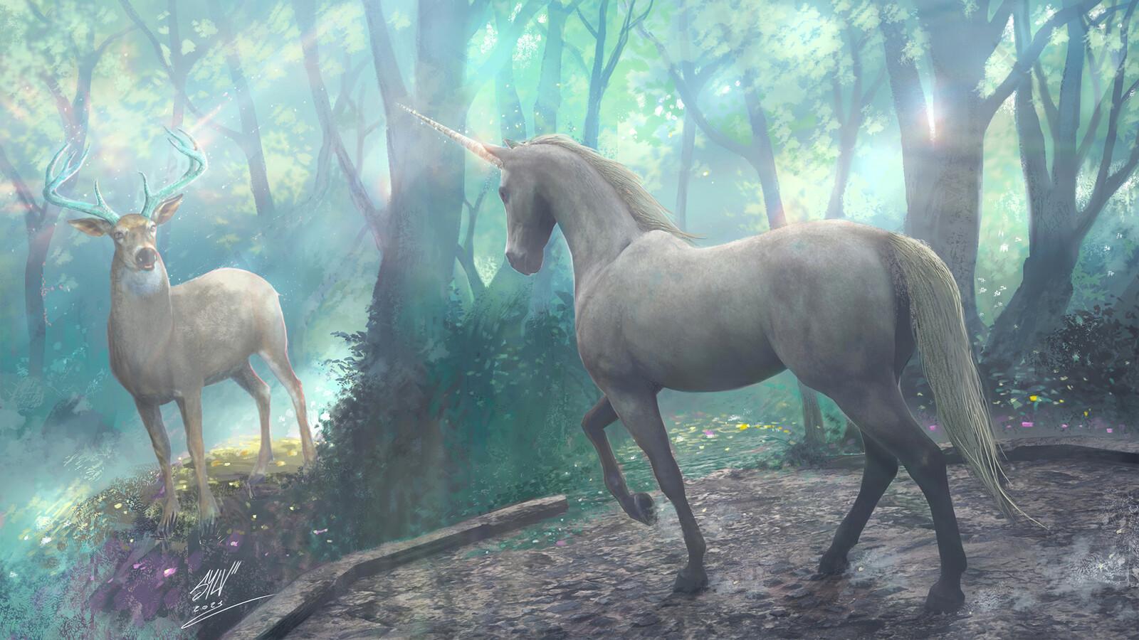 """Un cerf et une licorne se cachent dans la forêt. """"Bienheureux celui qui les capturera par l'art et les domptera"""""""
