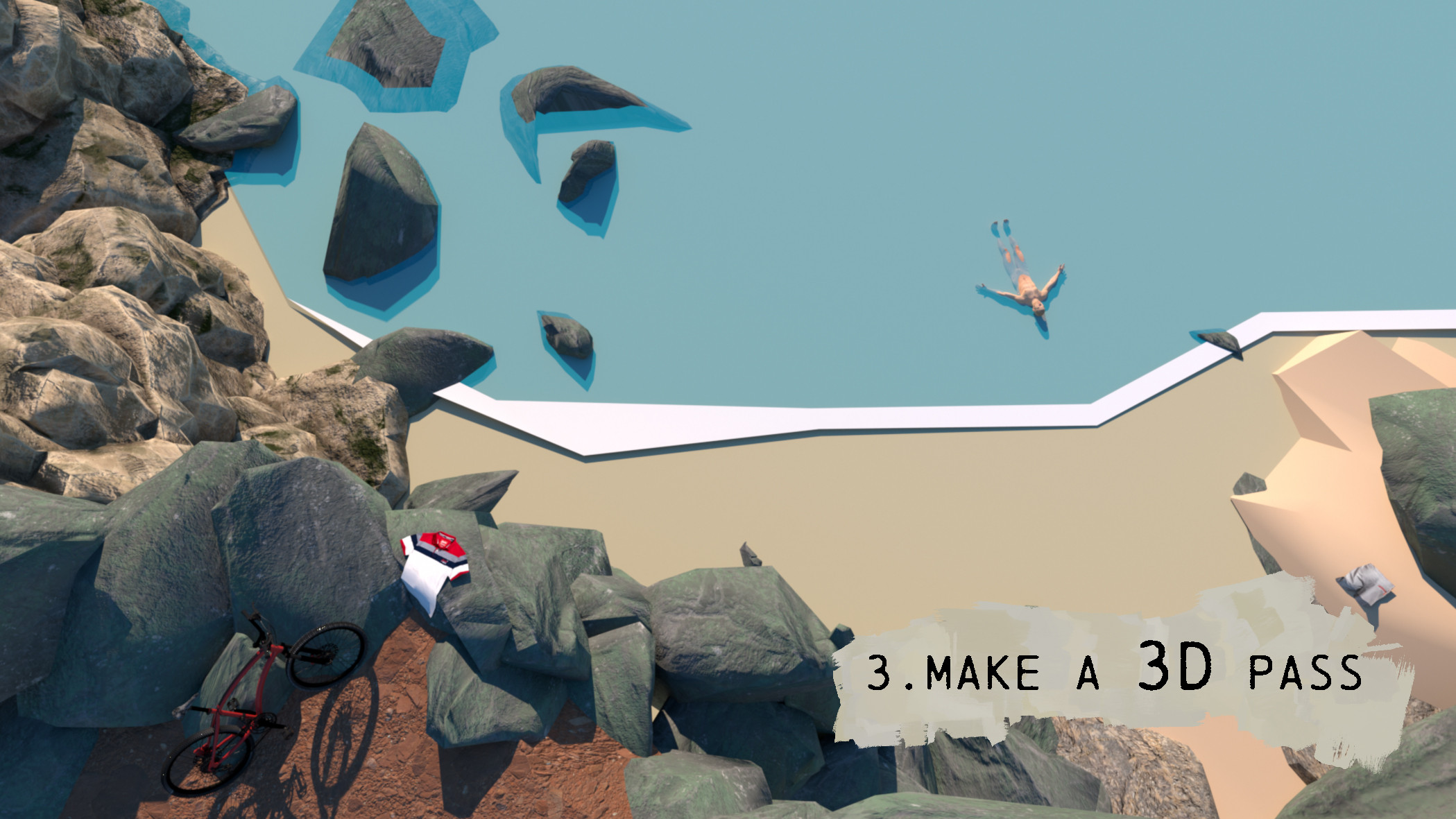 After I go on Cinema 4D help me with  the bike and try compositions with rocks.