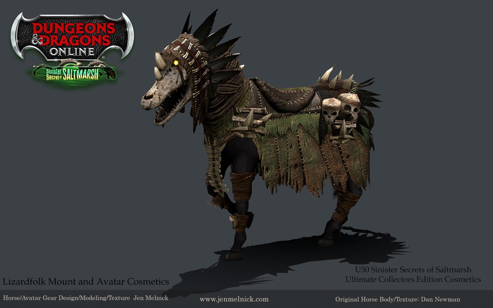 Dungeons and Dragons Online Lizardfolk Mount: Gear and Headpiece Sinister Secrets of Saltmarsh Mini-Expansion  Ultimate Fan Bundle Reward Marmoset Render