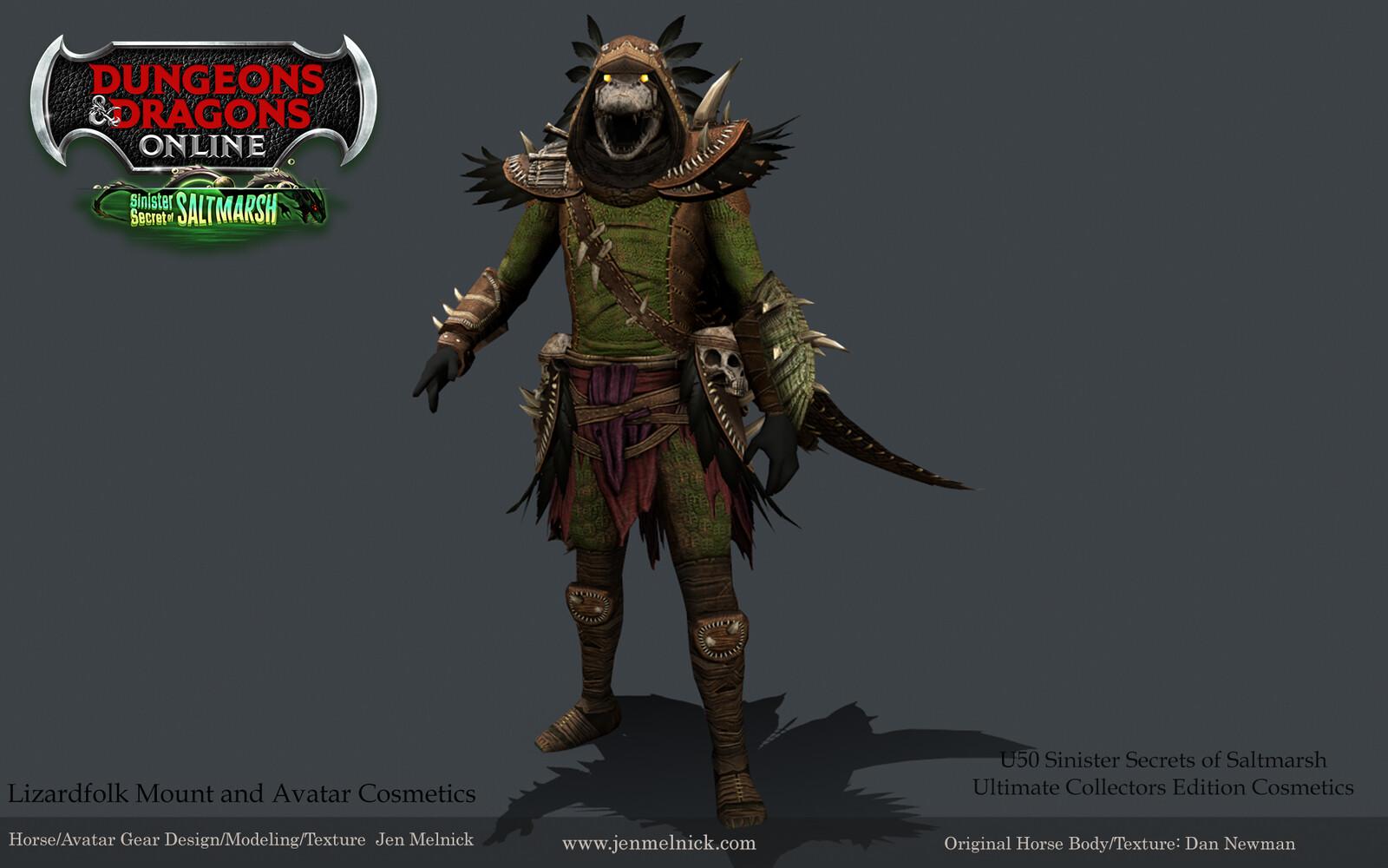 Dungeons and Dragons Online Lizardfolk Cosmetic Set: Jumpsuit, Cloak, Helmet, and Gearset Sinister Secrets of Saltmarsh Mini-Expansion  Ultimate Fan Bundle Reward Marmoset Render