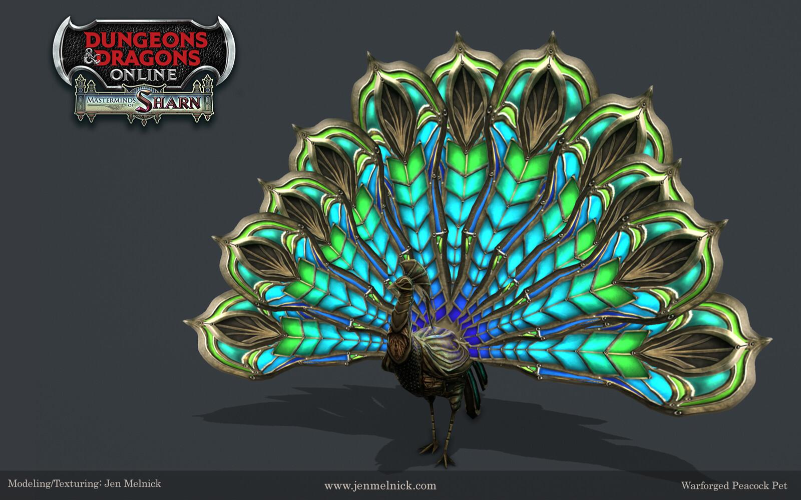 Warforged Peacock Pet Dungeons and Dragons Online Masterminds of Sharn Expansion  Ultimate Fan Bundle Pet Reward Marmoset Render
