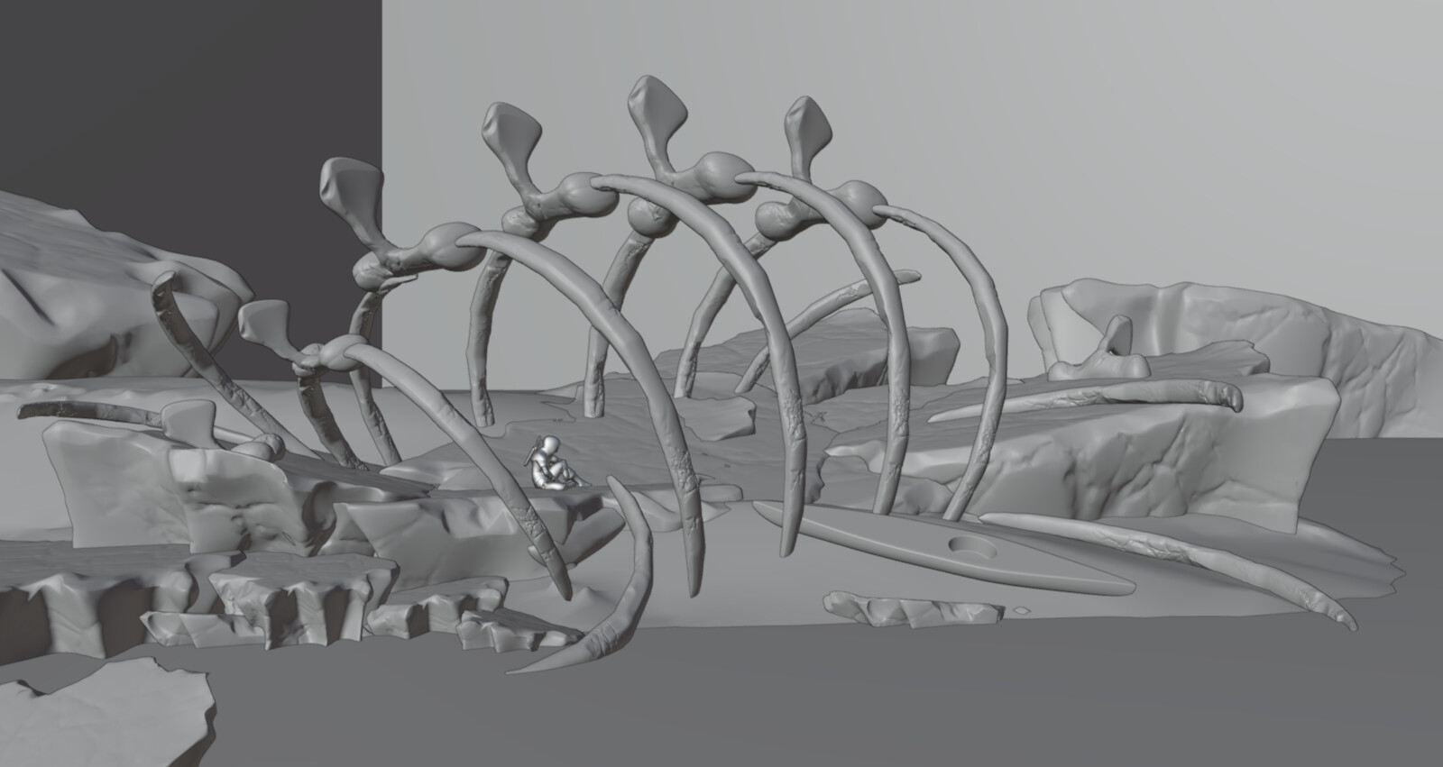 Blender viewport, the bones and ice sheets are sculpted, supplemented with some assets from Megascans